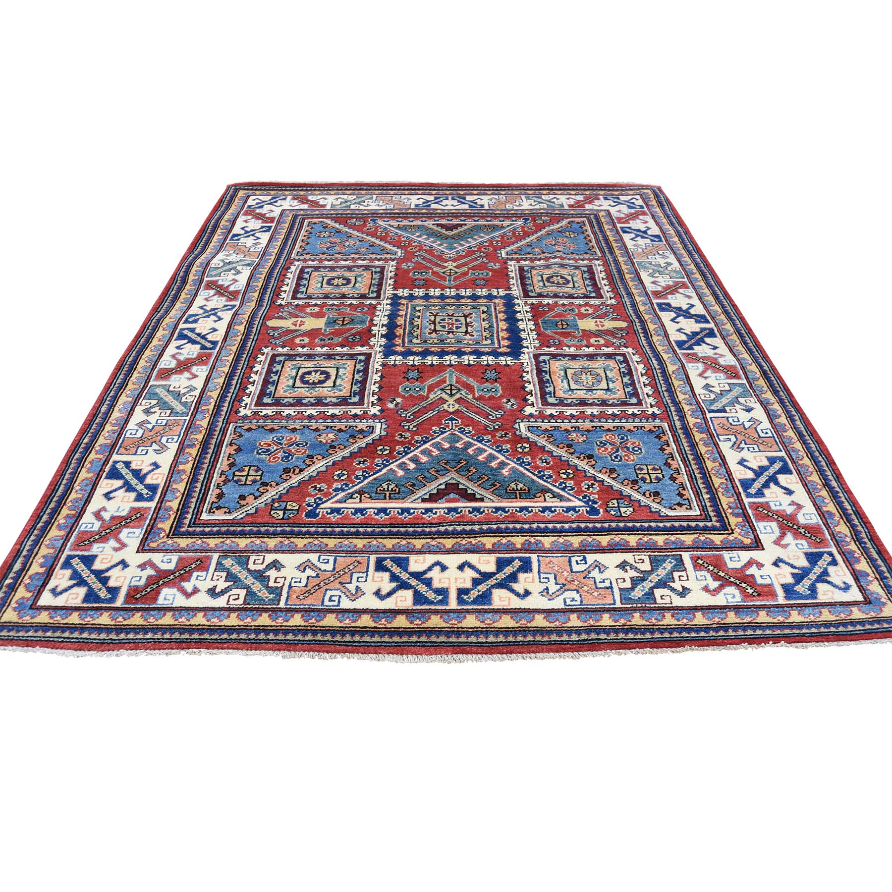 5'X6'5'' Hand-Knotted Pure Wool Red Special Kazak Oriental Rug moac88b6