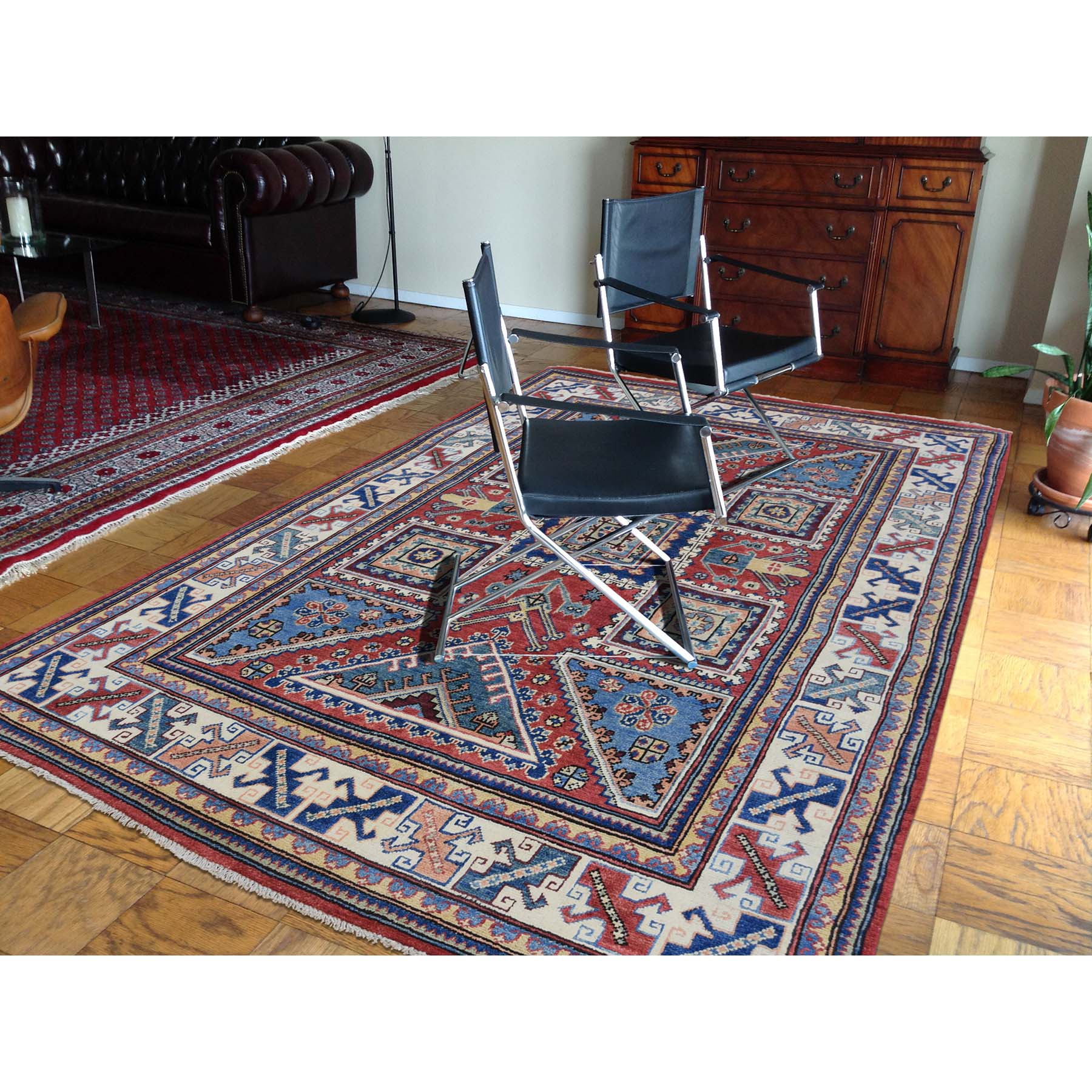 5-x6-5-- Hand-Knotted Pure Wool Red Special Kazak Oriental Rug