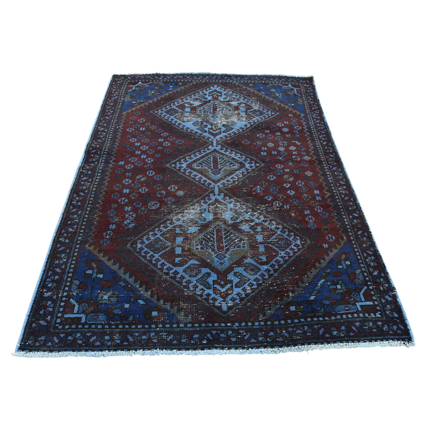 3'4''X4'9'' Hand Knotted Vintage Overdyed Persian Shiraz Oriental Rug moac88e9