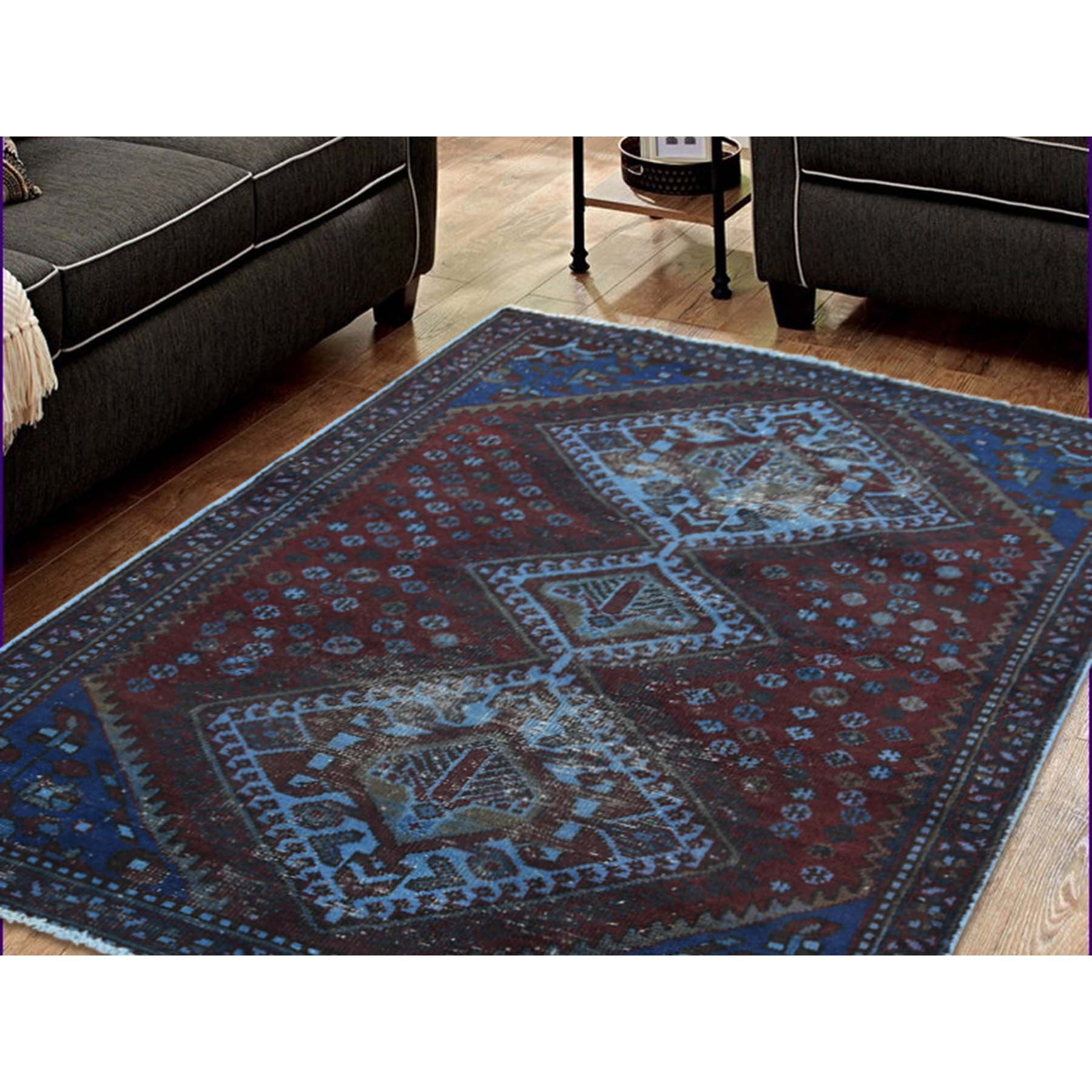3-4--x4-9-- Hand Knotted Vintage Overdyed Persian Shiraz Oriental Rug