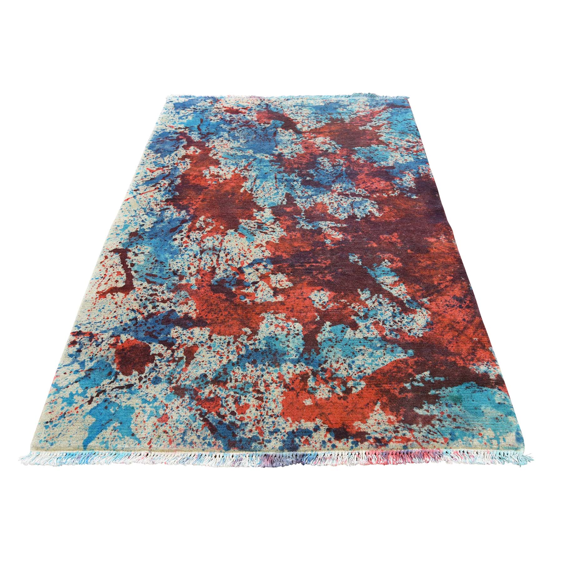 3-x4-10-- Hand Knotted Abstract Tie Dye Nepali Oriental Rug
