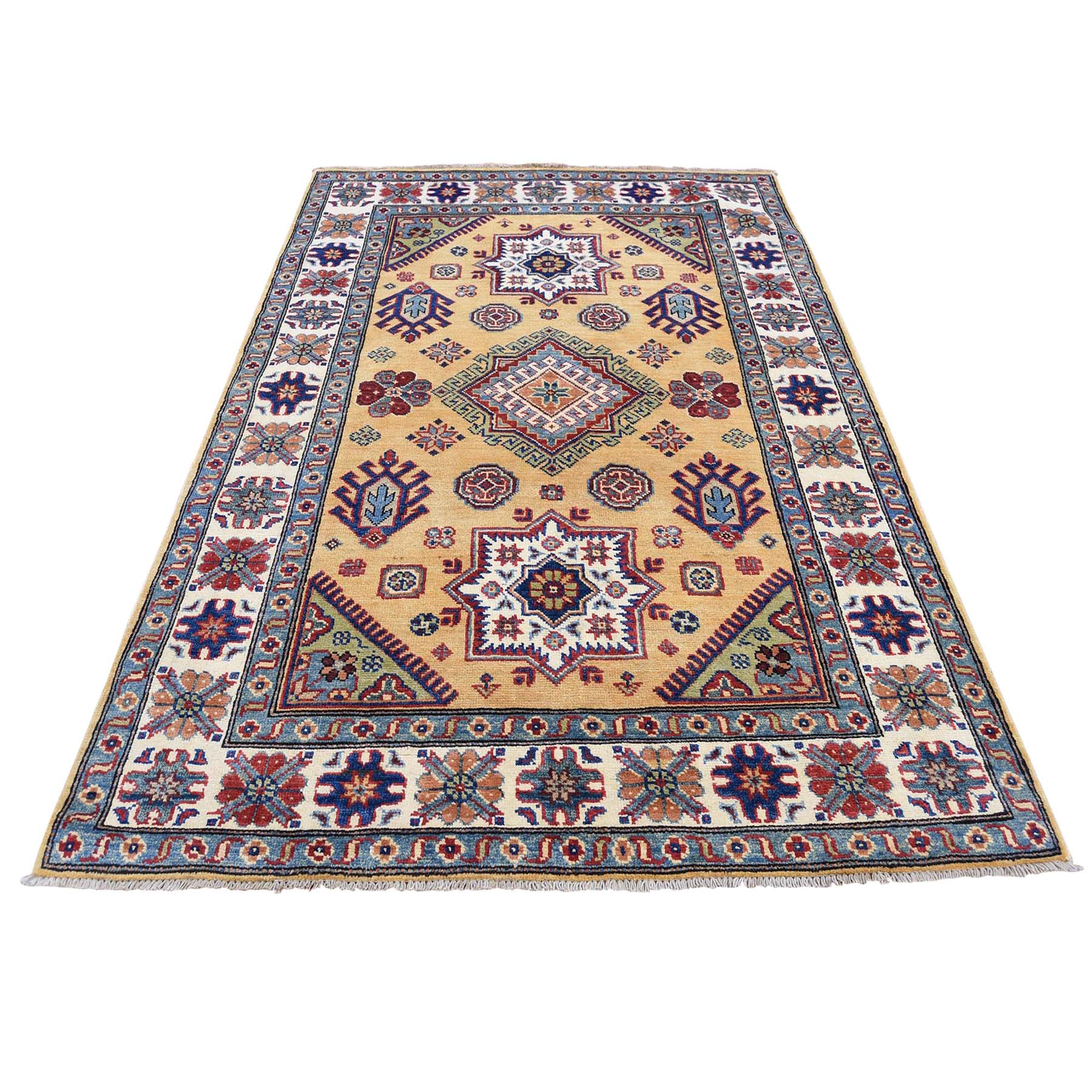 4'2''x5'10'' Gold Special Kazak Tribal Design Hand-Knotted Oriental Rug