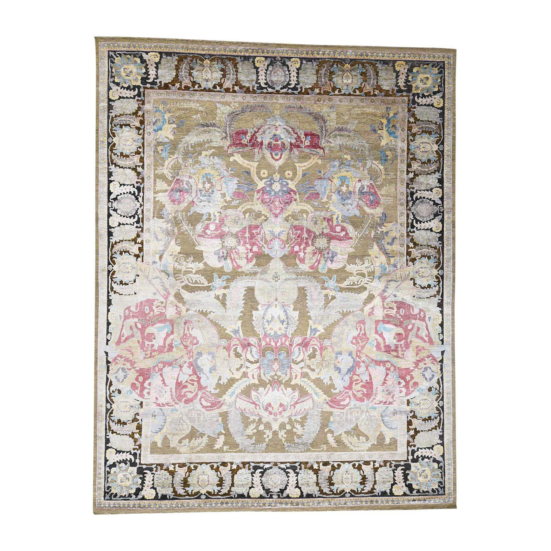 11'8''x15' Arts And Crafts Design Silk with Textured Wool Hand Knotted Oversize Rug