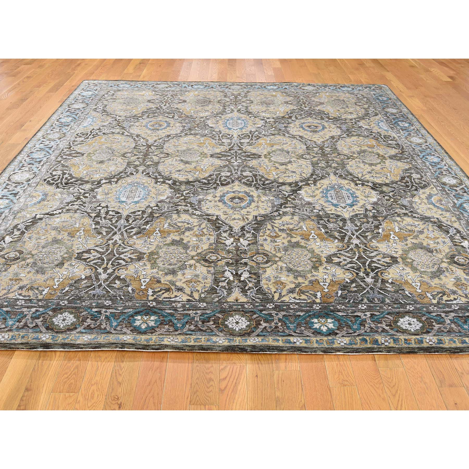 8-4--x9-9-- Silk with Oxidized Wool Ancient Cartouche Design Hand Knotted Rug