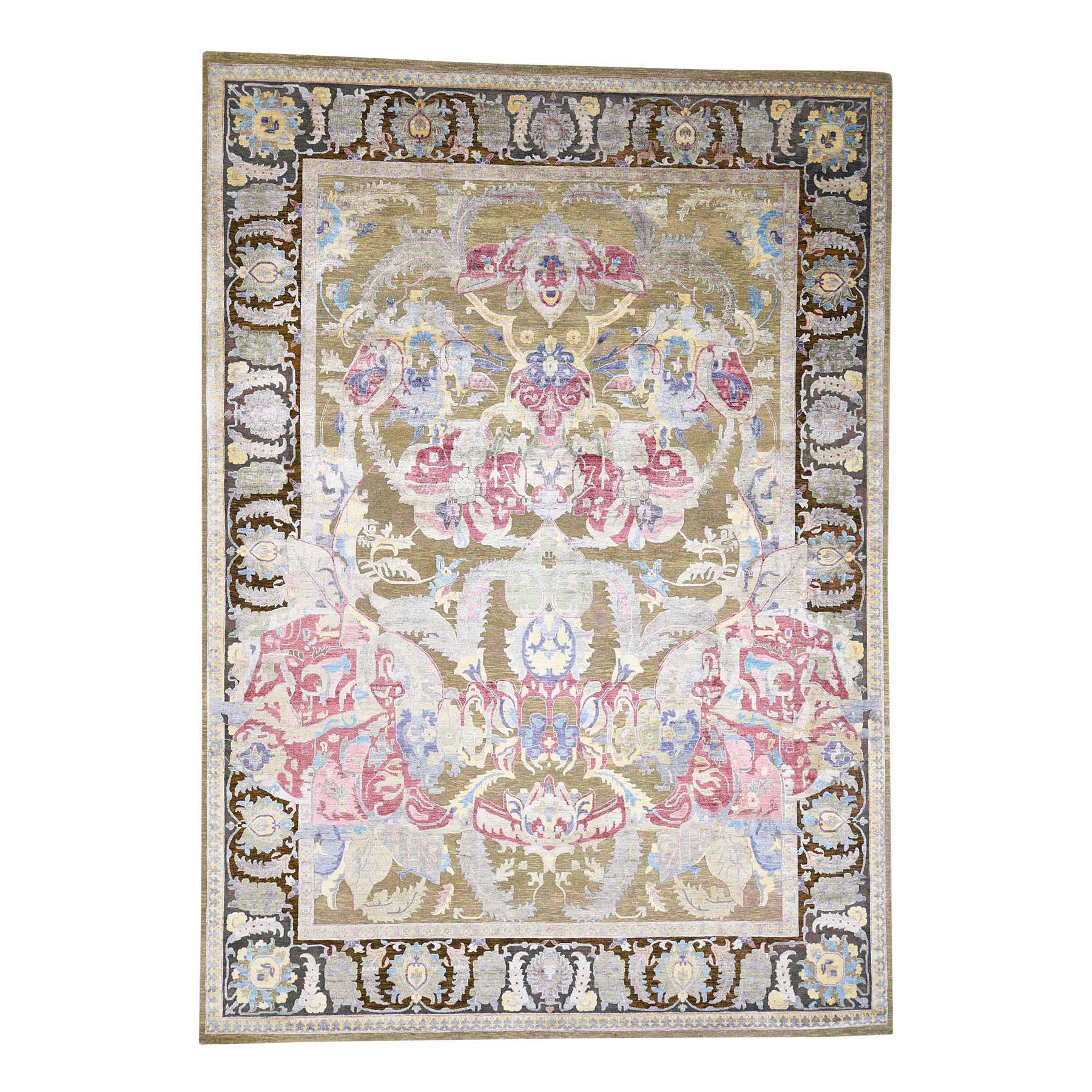 10'X14' Hand Knotted Arts And Crafts Design Silk With Oxidized Wool Oriental Rug moac8980