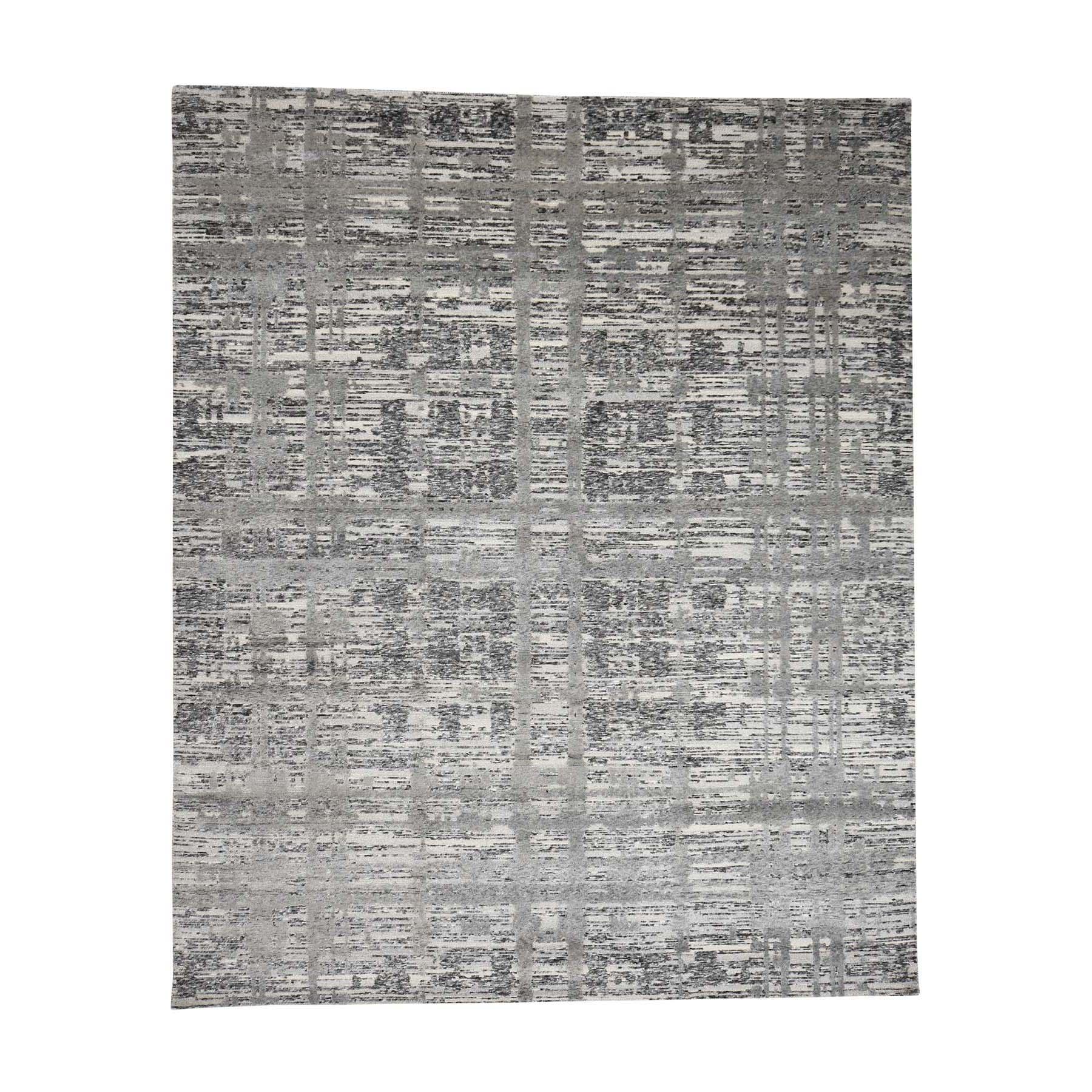 8-1--x10- Grey Hand Spun Undyed Natural Wool Modern Oriental Rug