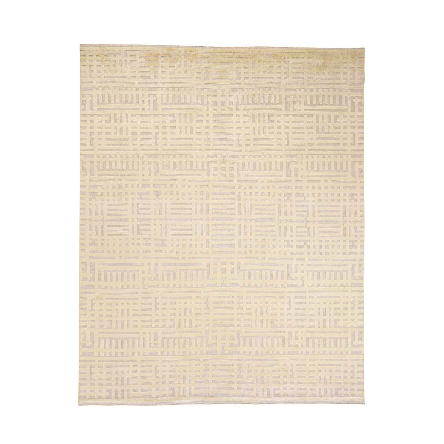 8'1''x10'2'' Textured Wool With Silk High And Low Pile Modern Hand Knotted Rug