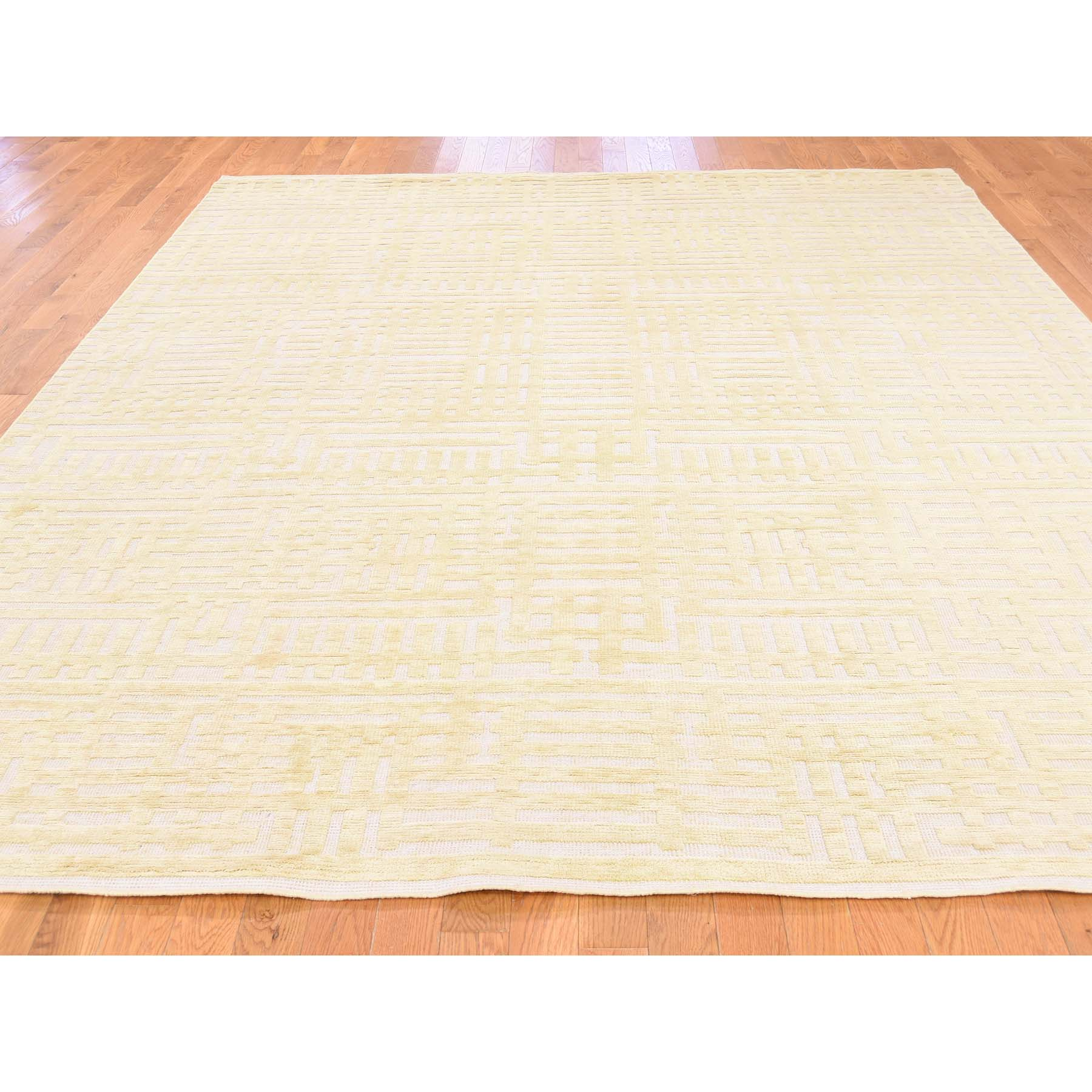 8-1--x10-2-- Oxidized Wool With Silk High And Low Pile Modern Hand Knotted Rug