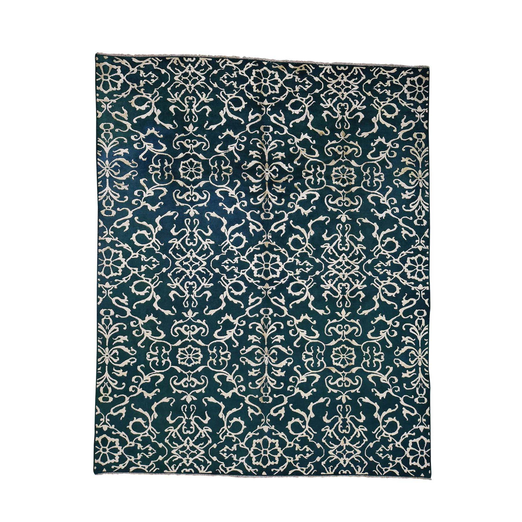 7'7''x9'4'' Wool and Silk Modern Nepali Hand Knotted Oriental Rug