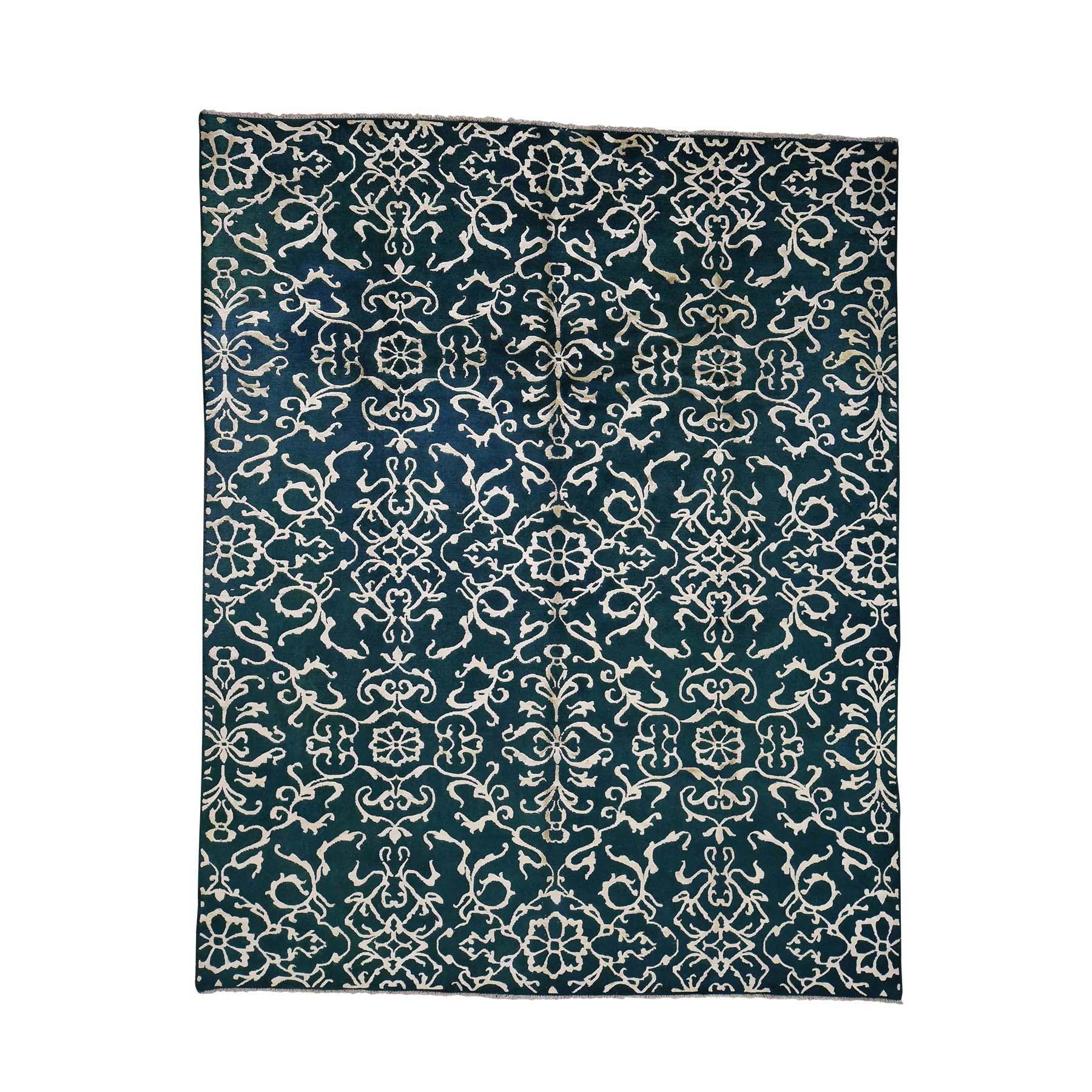7'7''X9'4'' Wool And Silk Modern Nepali Hand Knotted Oriental Rug moac90da