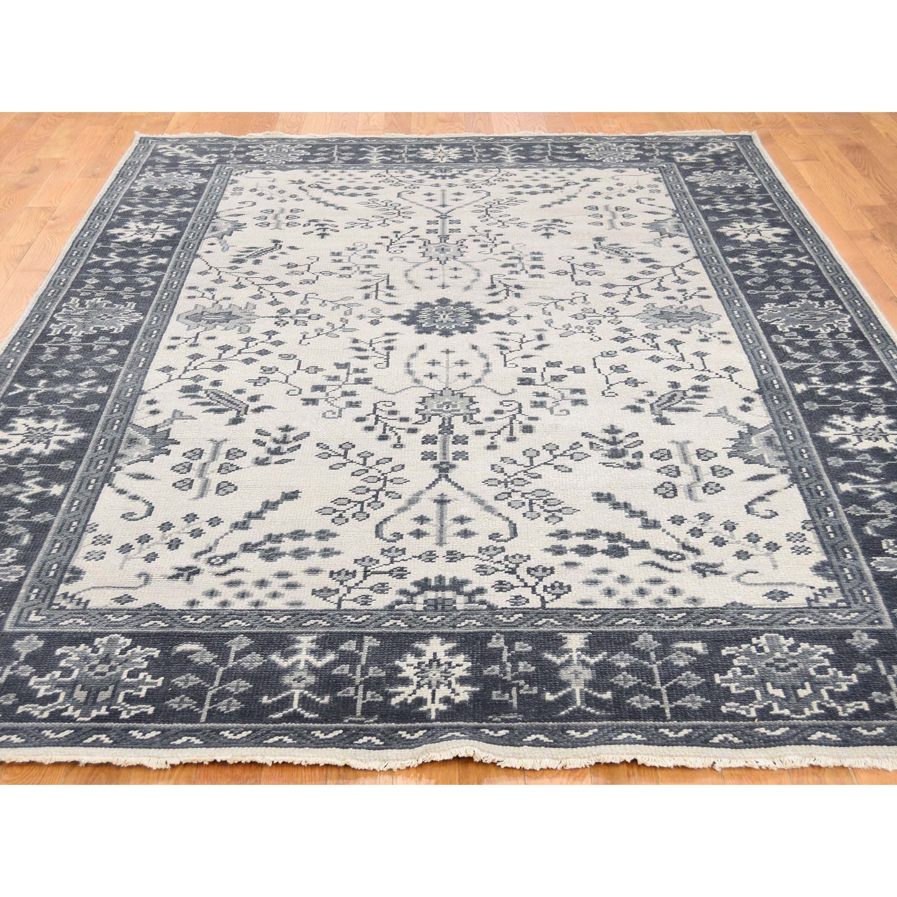 6-x9- Turkish Knot Oushak Sarouk Design Cropped Thin Hand-Knotted Oriental Rug