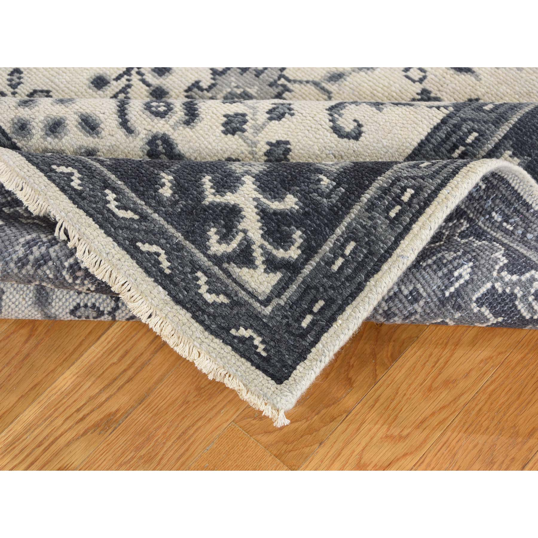 6'x9' Turkish Knot Oushak Sarouk Design Cropped Thin Hand-Knotted Oriental Rug