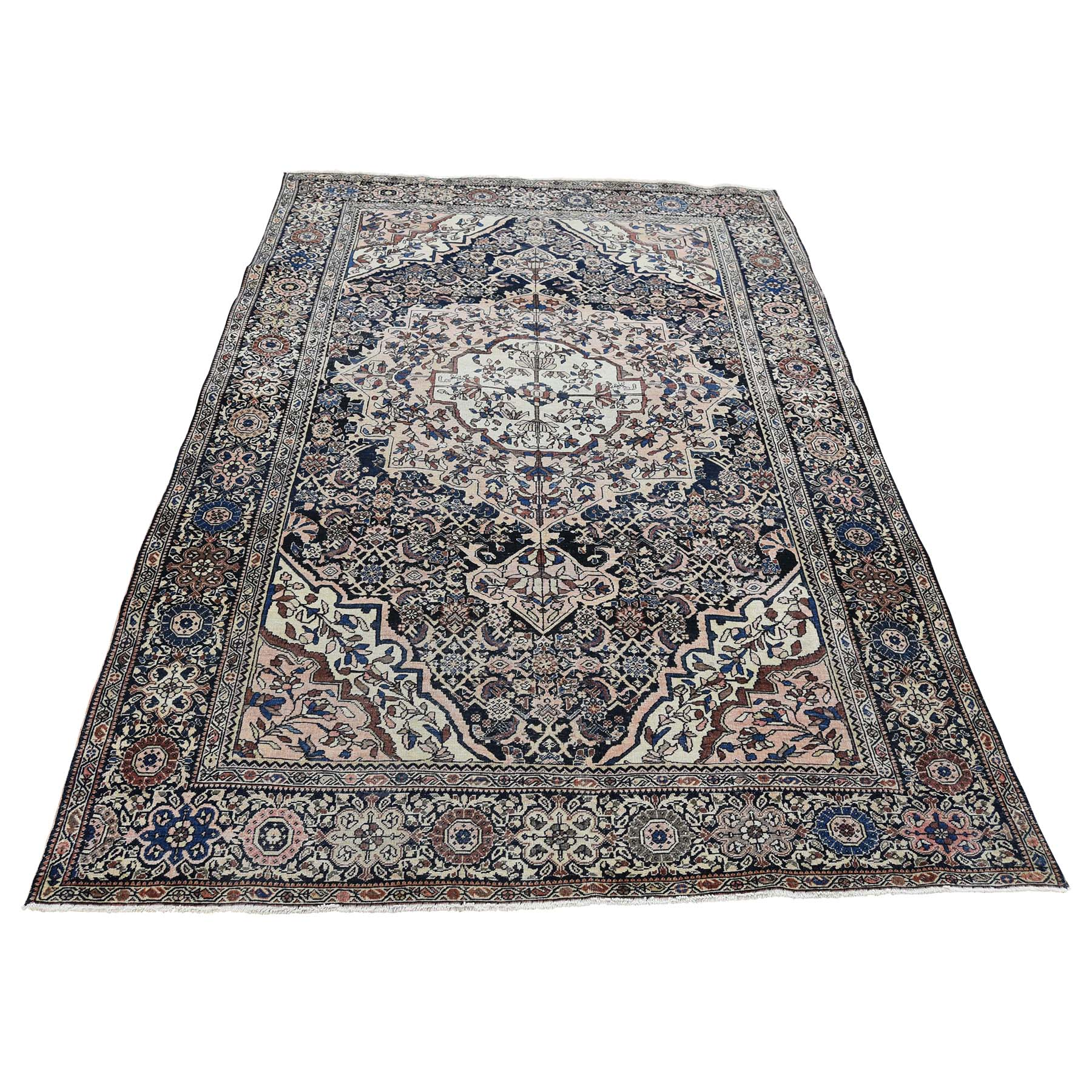 4'X6'3'' Antique Persian Fereghan Sarouk Dense Weave Even Wear Hand-Knotted Rug moac9070