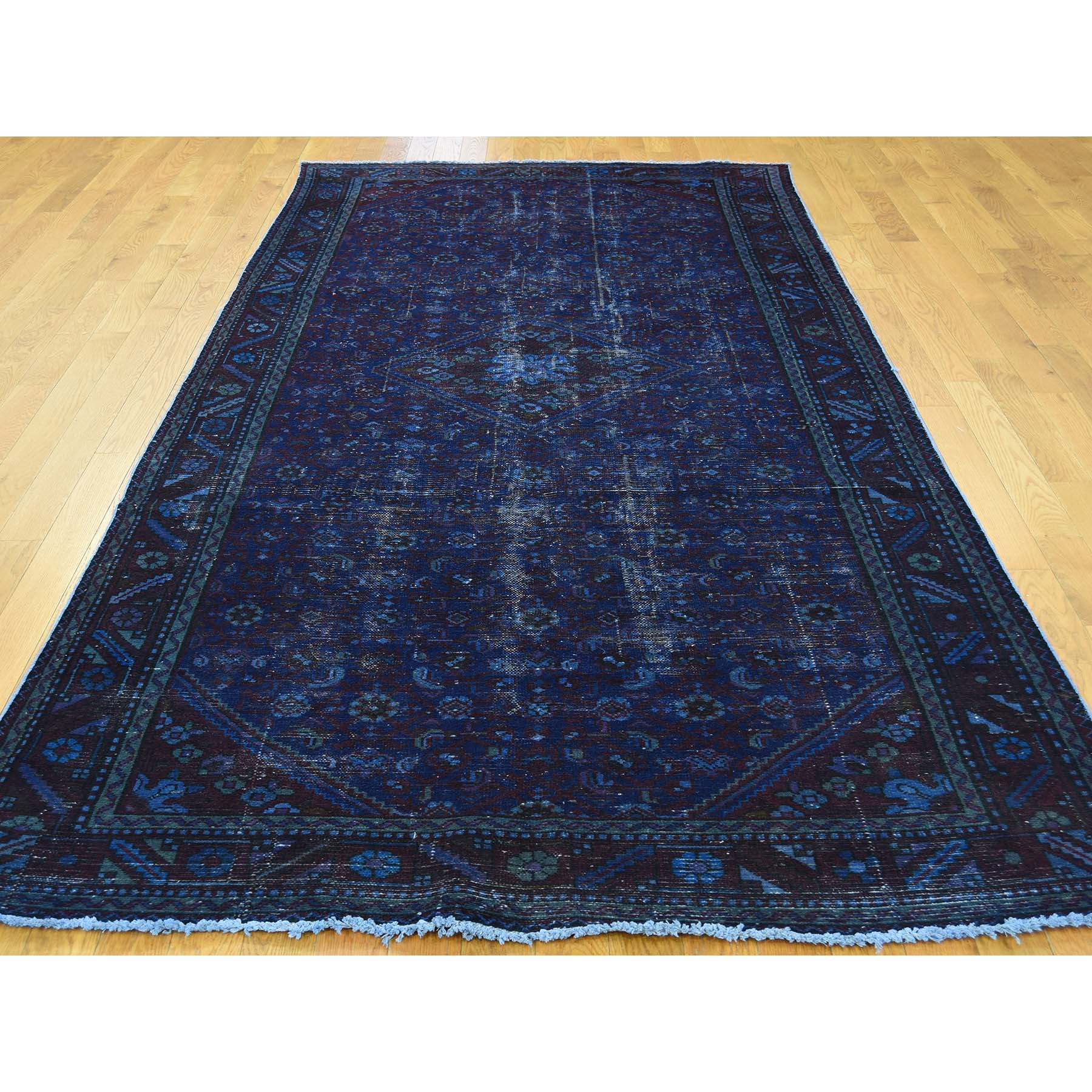 5-1--x10- Vintage Overdyed Persian Hamadan Wide Runner Hand Knotted Rug