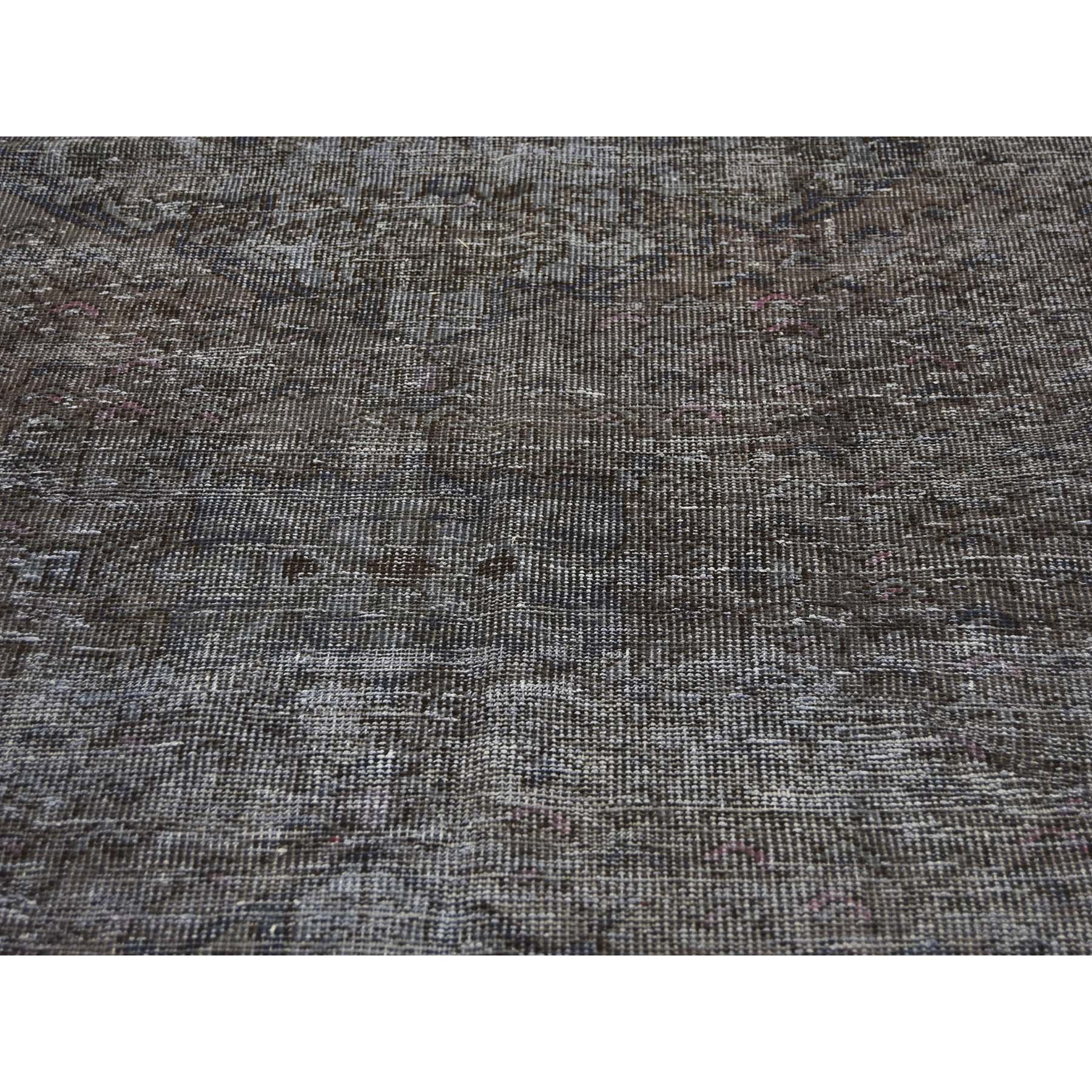 5-3--x9-7-- Hand Knotted Pure Wool Vintage Overdyed Persian Tabriz Wide Runner Rug