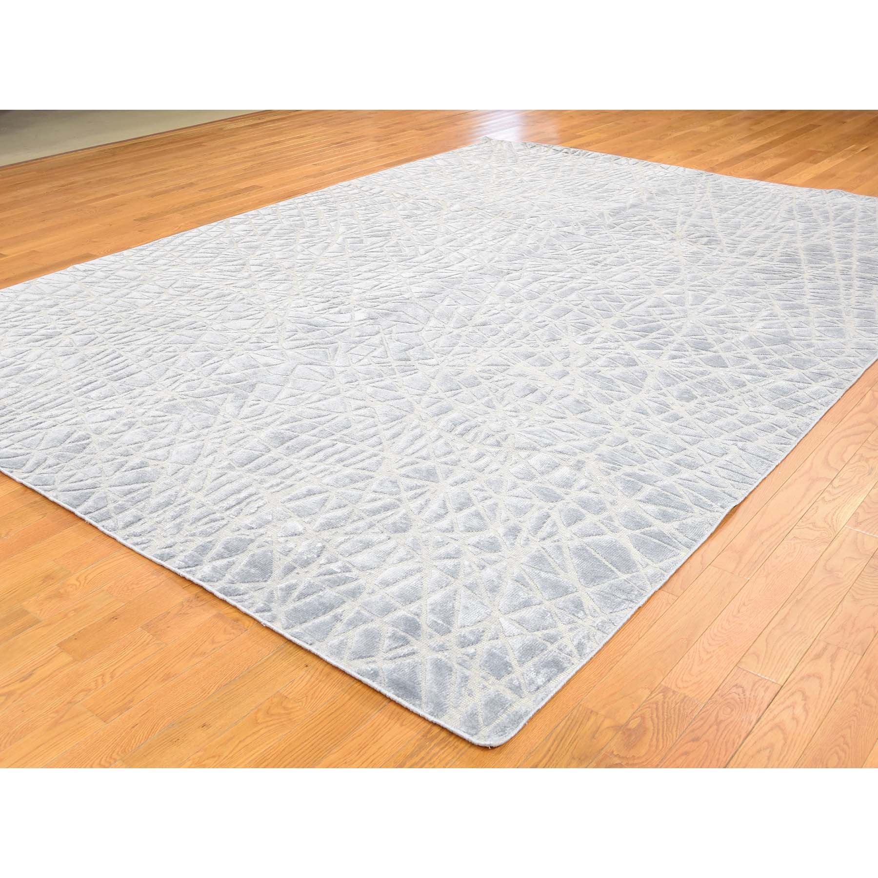 9-x12- Silk with Oxidized Wool Modern Tone on Tone Hand Knotted Oriental Rug