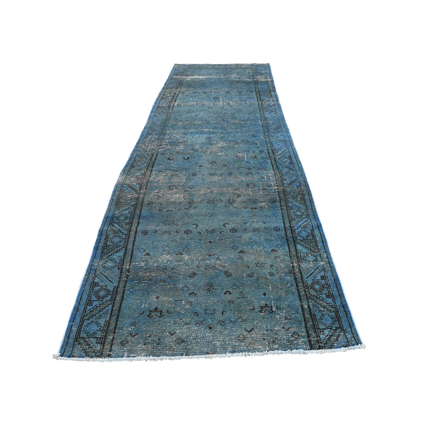 3-6 x11-4  Hand Knotted Vintage Overdyed Persian Hamadan Fragment Wide Runner Rug