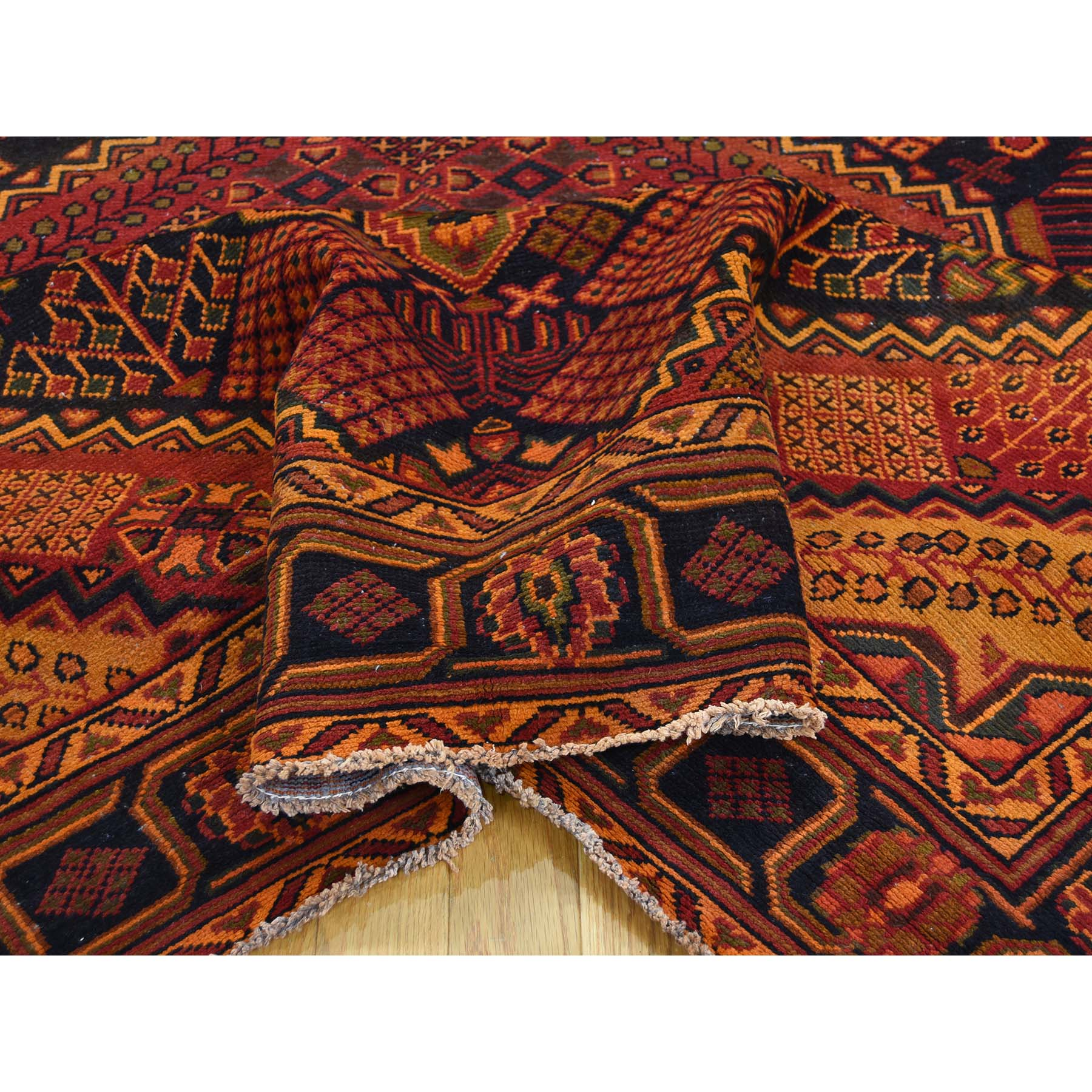 6-10 x9-4  Hand Knotted Vintage Overdyed Persian Bakhtiari Oriental Rug