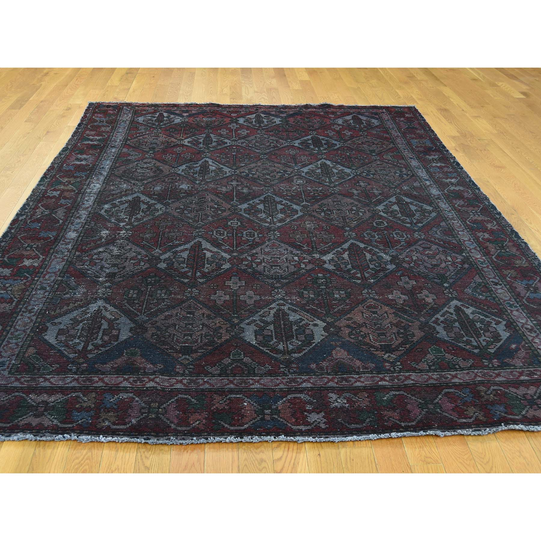 7-3 x9-5  Hand Knotted Vintage Overdyed Persian Bakhtiari Garden Design Rug