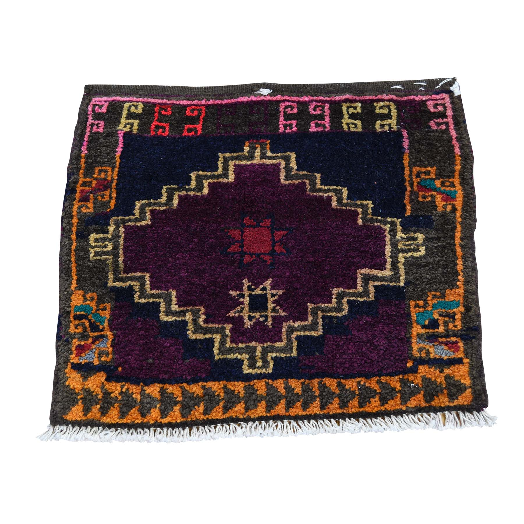 1-7 x1-9  Square Persian Shiraz Bag Face Pure Wool Hand Knotted Oriental Rug