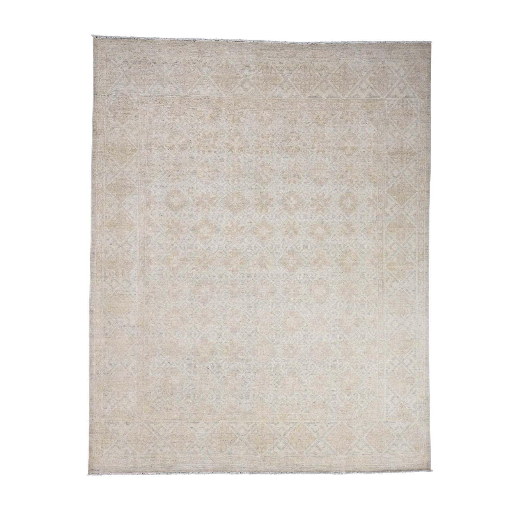 "8'X10'2"" Hand Knotted Pure Wool White Wash Khotan Oriental Rug moac9cc7"