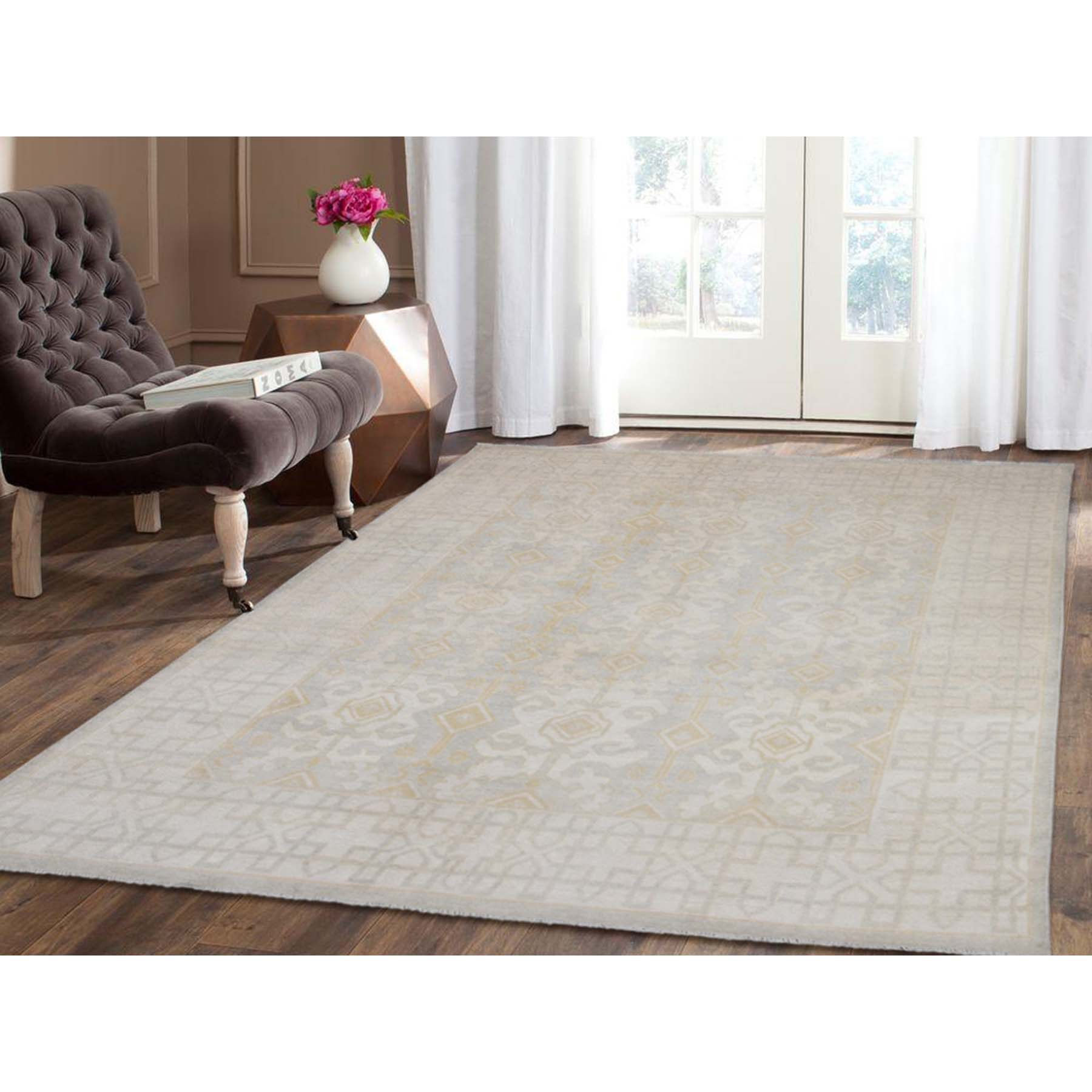 7-6 x9-8  Hand Knotted Pure Wool White Wash Peshawar Oriental Rug