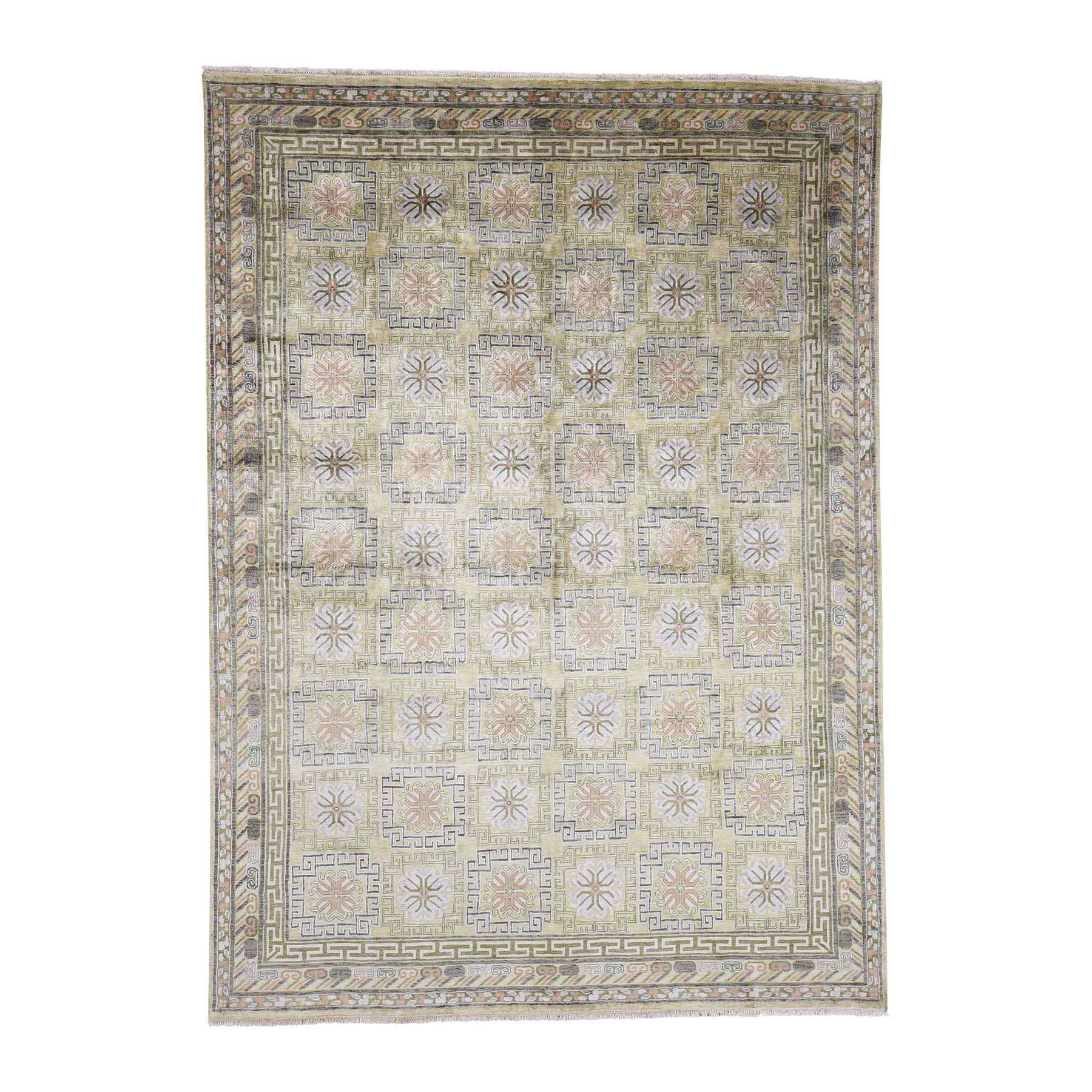 "8'7""X11'10"" Hand Knotted Pure Silk Khottan Design With Greens Oriental Rug moac9c9a"