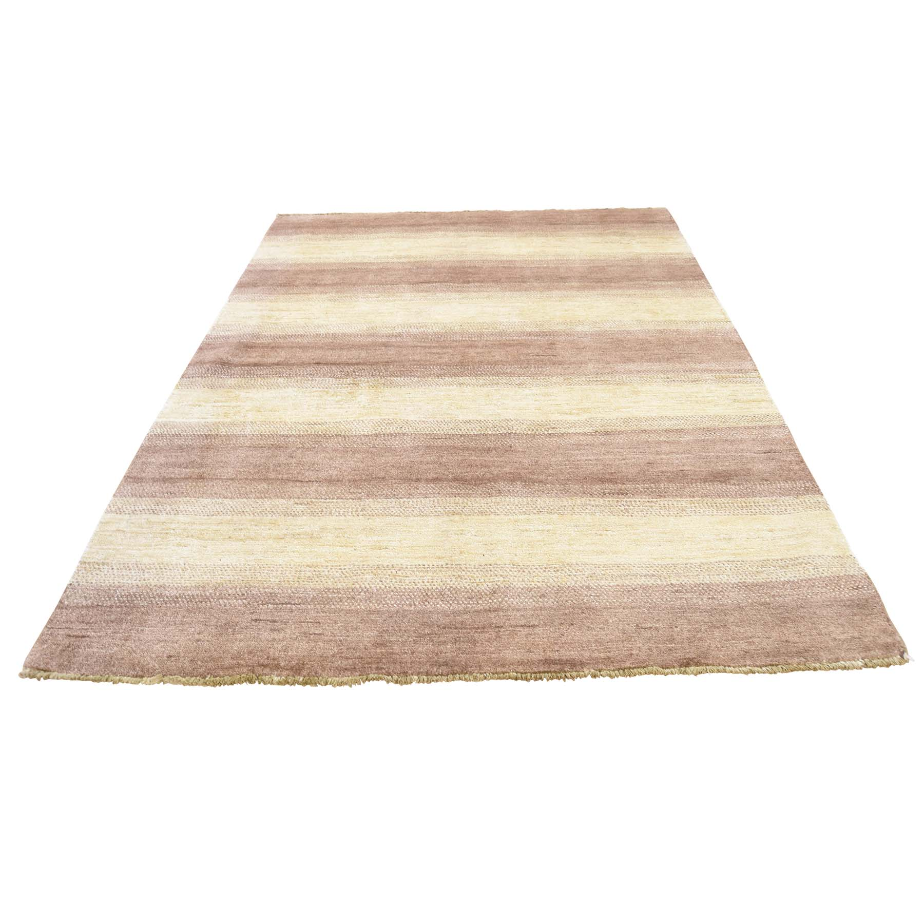 "4'7""X6'3"" Hand Knotted Pure Wool Gabbeh Peshawar Striped Design Rug moac9dca"