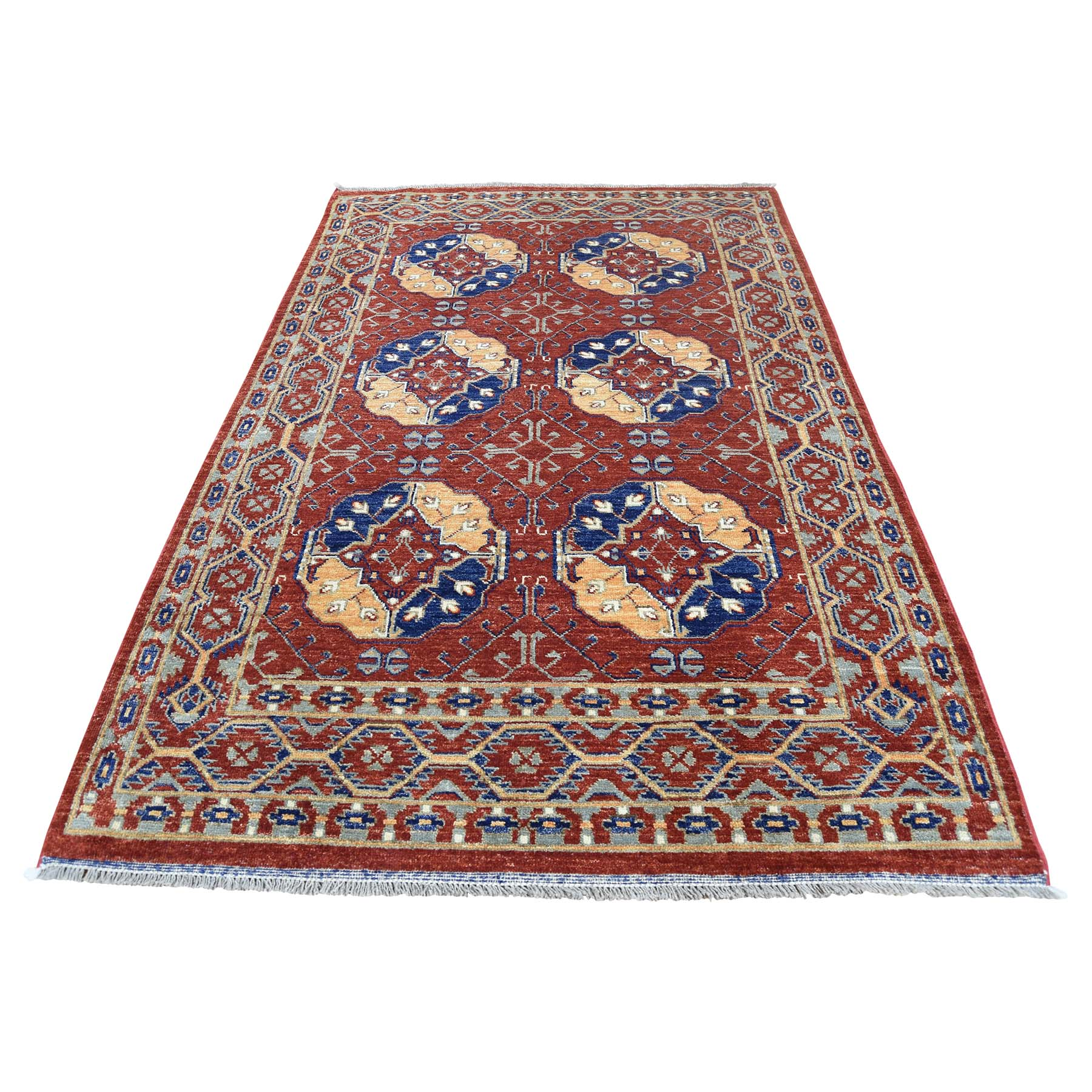 "4'1""X6'5"" Afghan Ersari Elephant Feet Design Hand-Knotted Pure Wool Rug moac9ded"