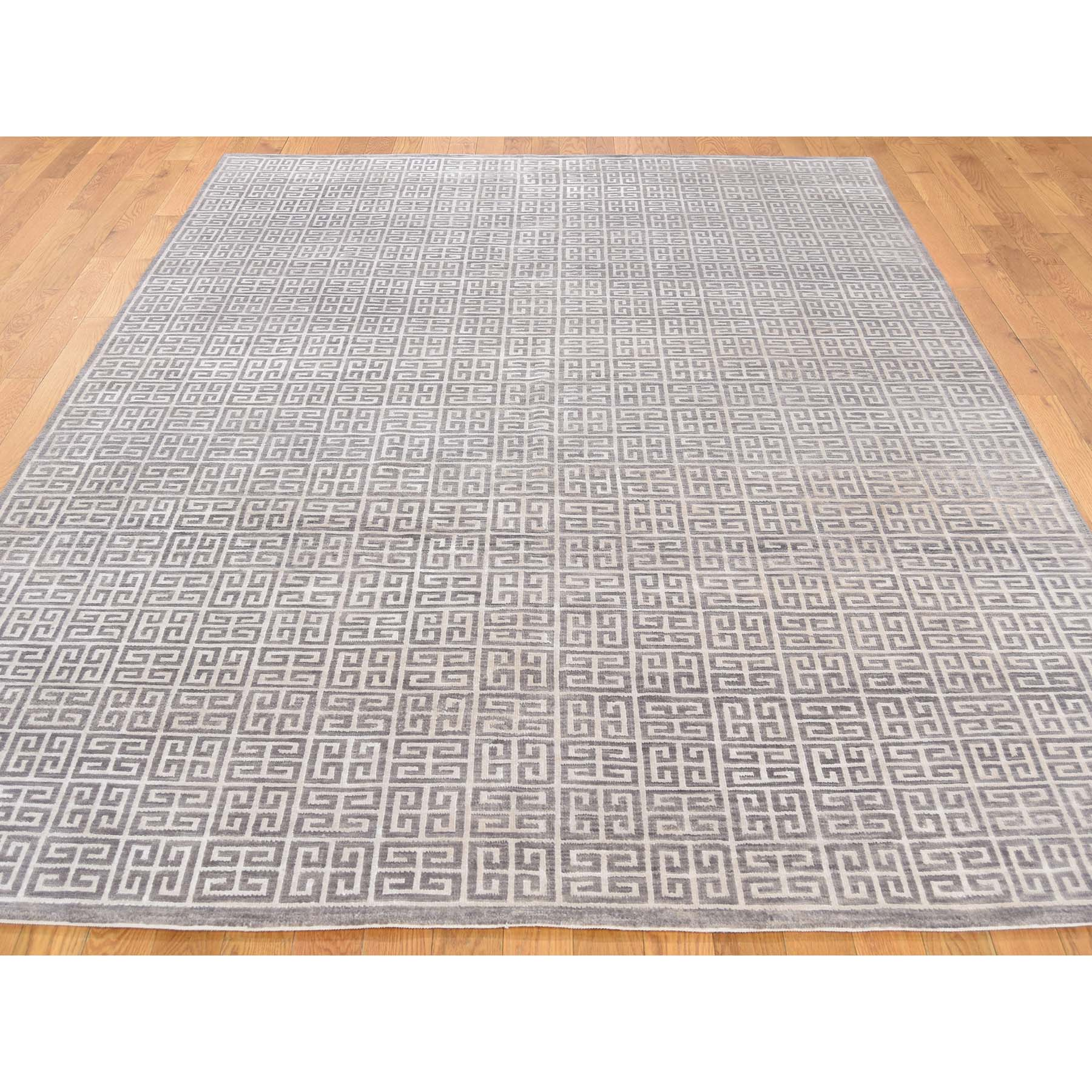 6-3 x8-7  Roman Key Design Modern Hand Knotted Wool and Silk Oriental Rug