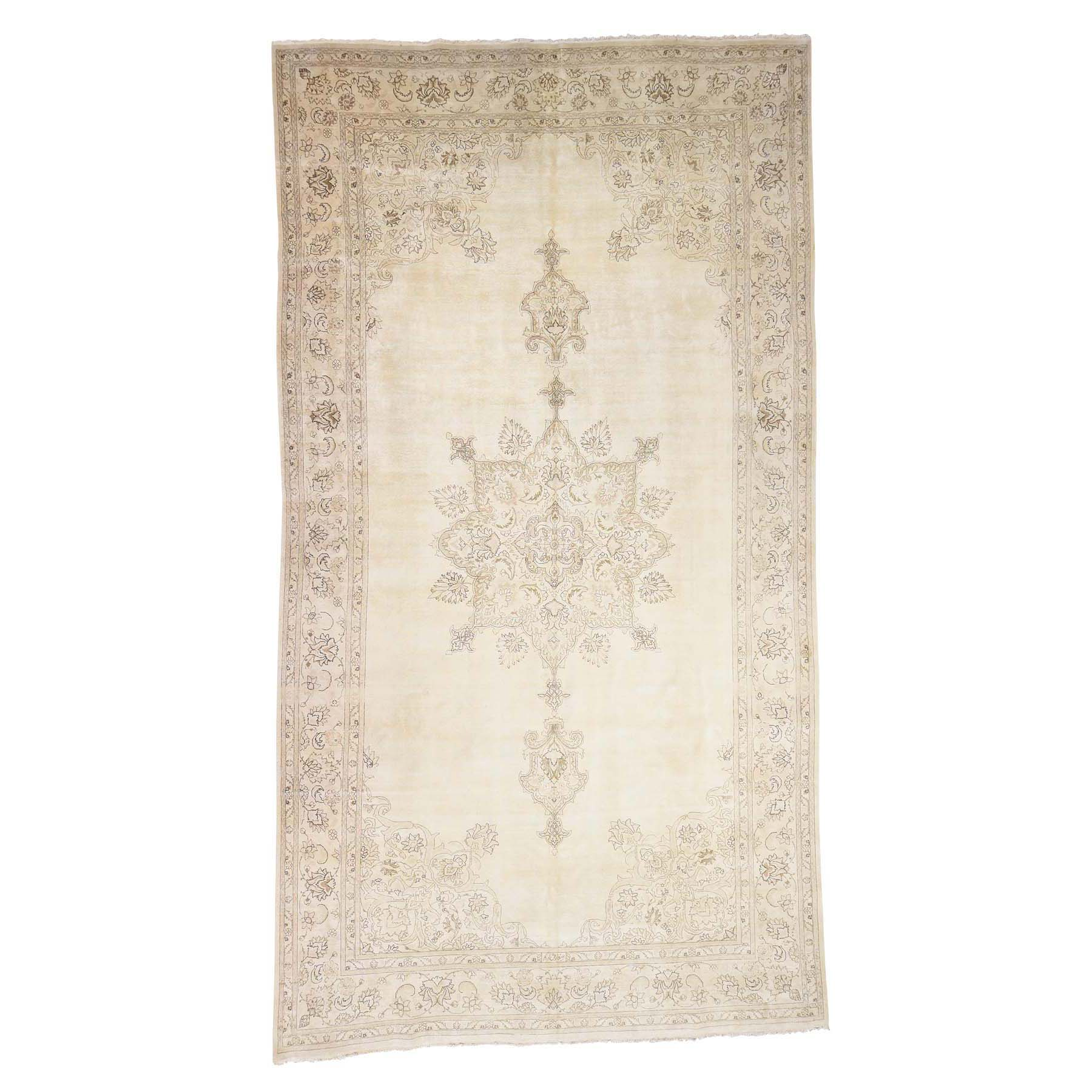 """9'9""""X17'6"""" Gallery Size Vintage Tabriz Full Pile Hand Knotted Pure Wool Rug moac9d86"""