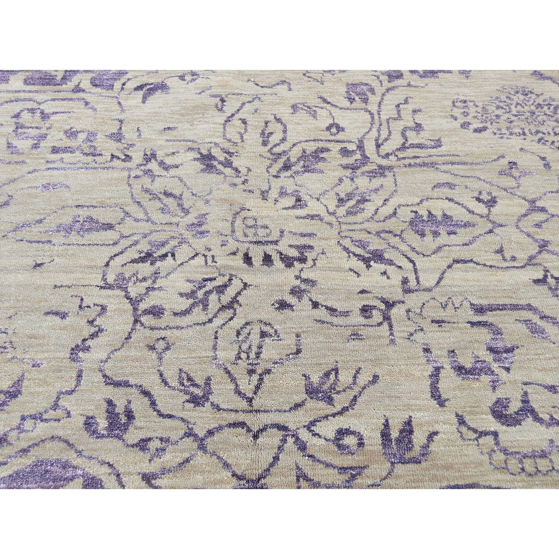 9-x12- Wool and Silk Tone on Tone Broken Design Kashan Ultra Violet Hand Knotted Rug