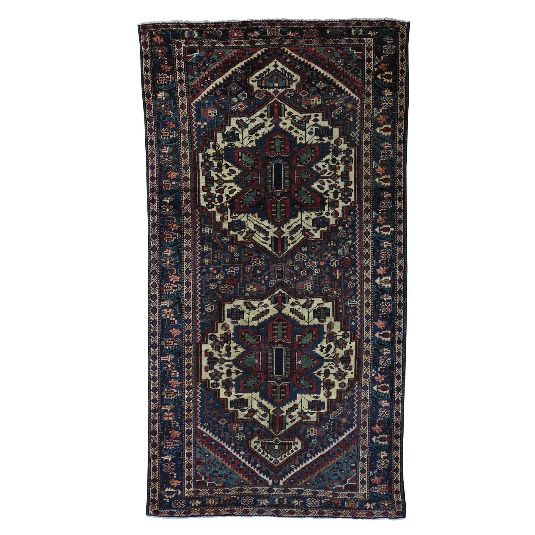 "5'2""X9'9"" Vintage Persian Bakhtiari Even Wear Hand Knotted Wide Runner Rug moac9d97"