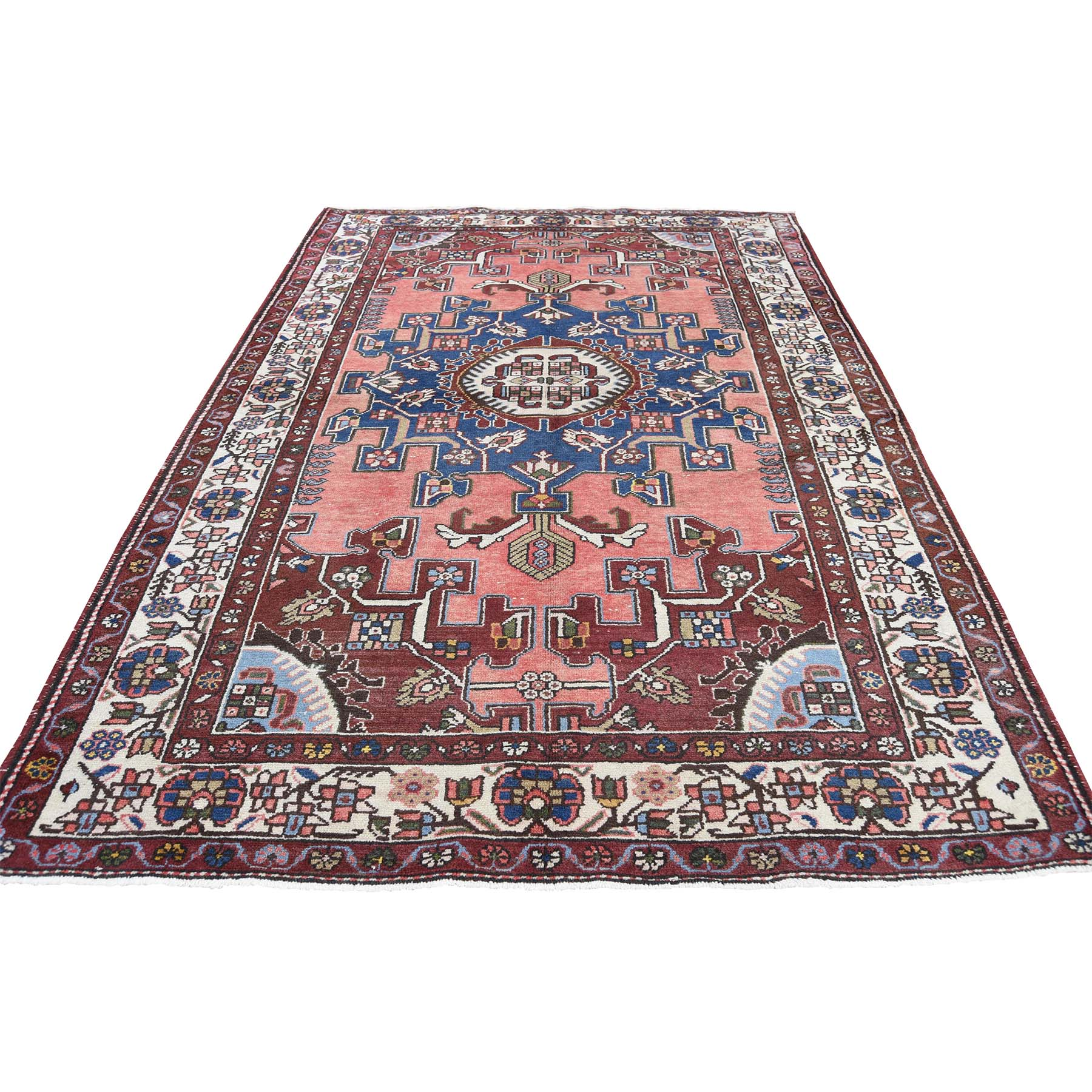 """4'4""""X6'4"""" Vintage Persian Bakhtiari Hand Knotted Pure Wool Oriental Rug moac9e0a"""