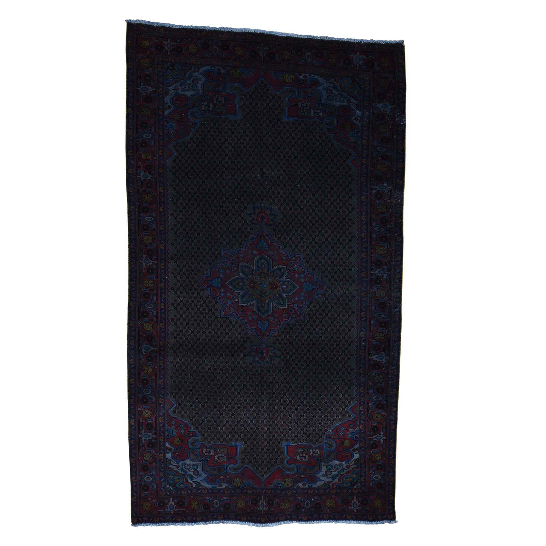 """5'4""""X9'4"""" Vintage Overdyed Persian Hamadan Wide Runner Hand Knotted Rug moac9e0e"""
