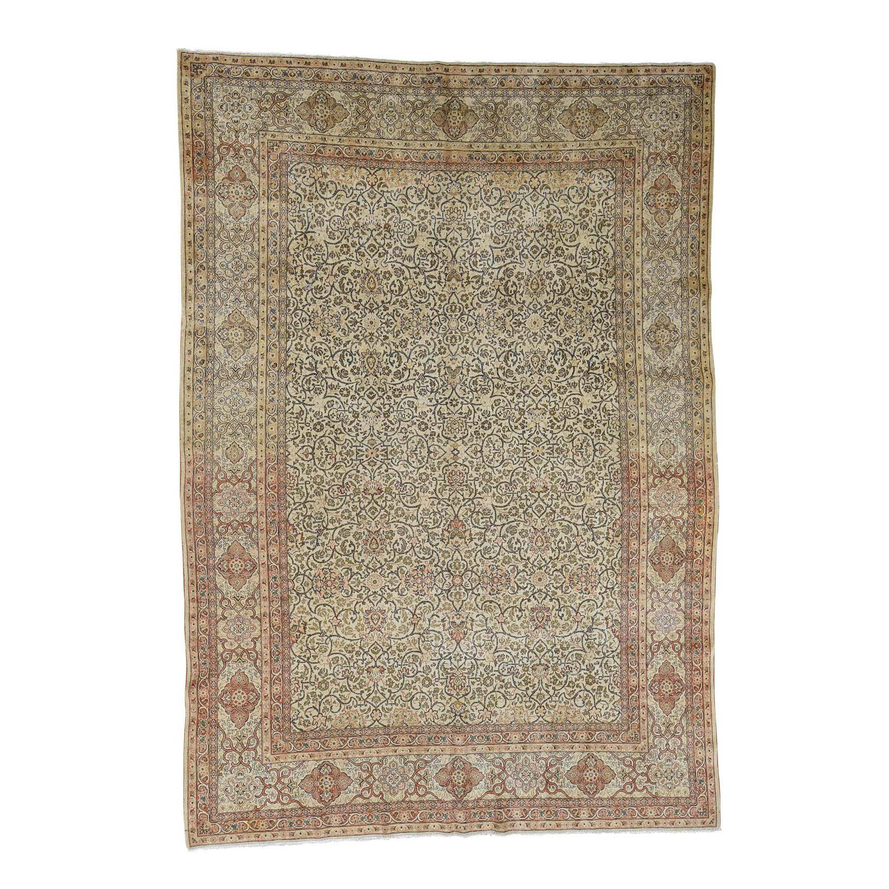 "8'6""X12'1"" Antique Persian Tabriz Hand Knotted Pure Wool Full Pile Rug moac9ea8"