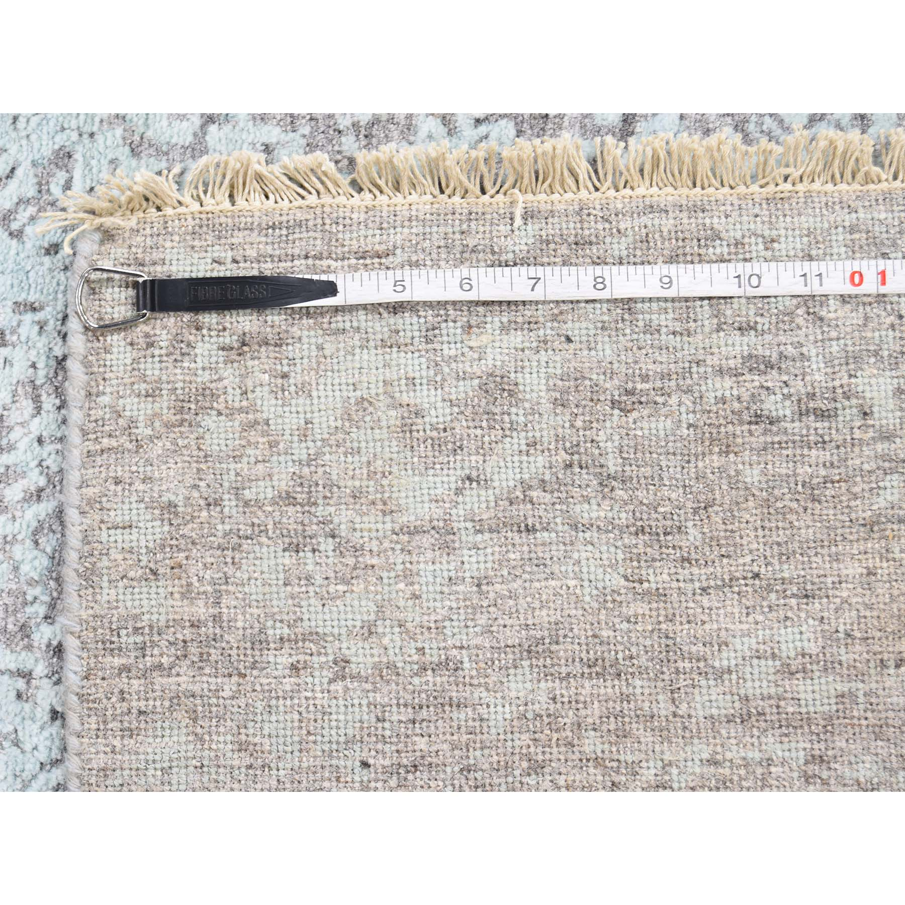 """4'x9'9"""" Broken Persian Design Wool And Silk Hand-Knotted Wide Runner Rug"""