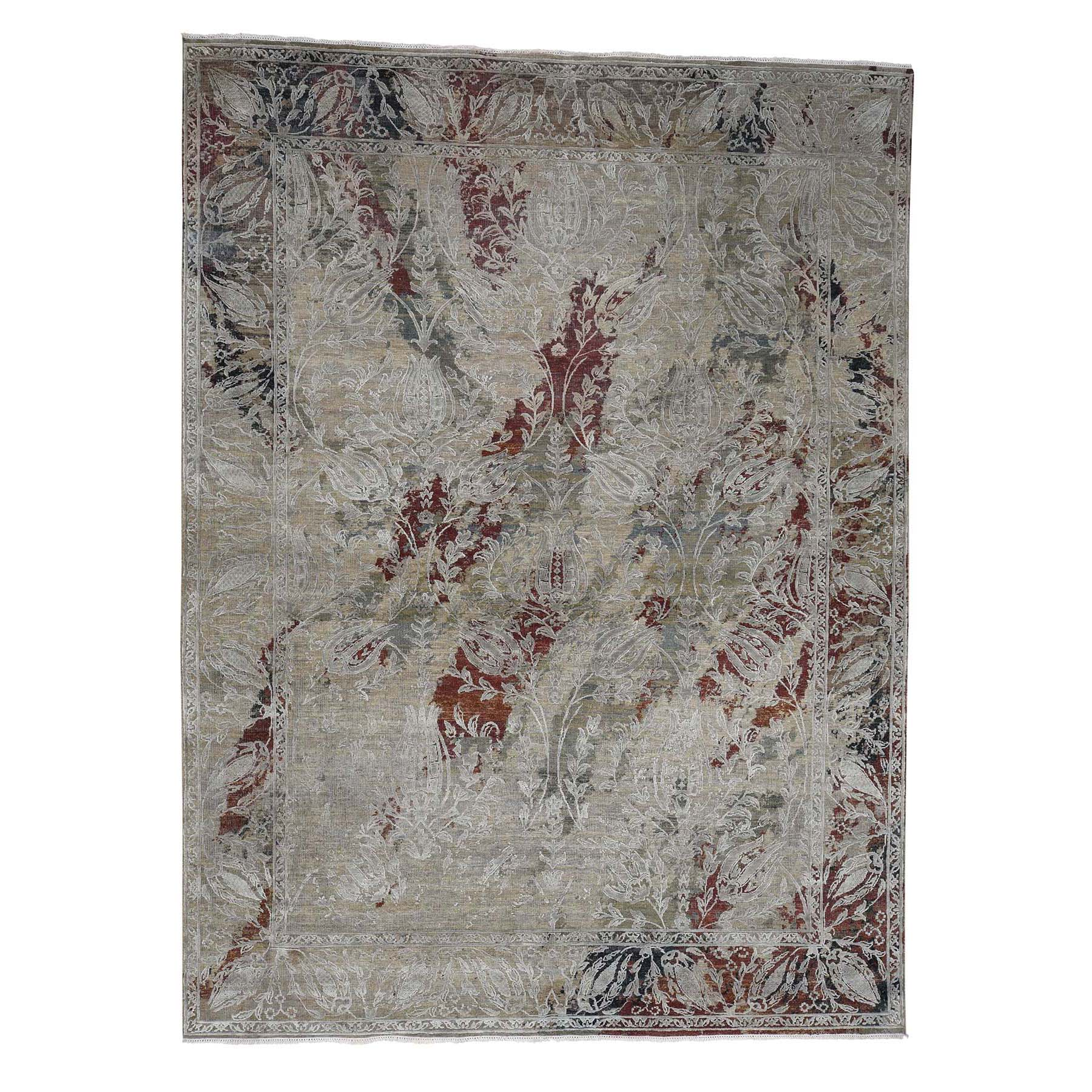 "9'1""X12'2"" Silk With Textured Wool Broken Tulip Design Hand-Knotted Oriental Rug moac9e87"