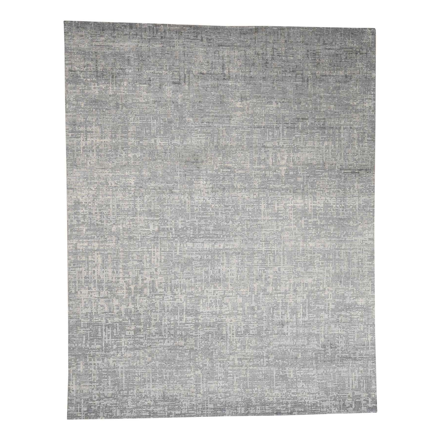 "8'X10'1"" The Matrix Pure Silk With Oxidized Wool Tone On Tone Hand-Knotted Rug moac9e9b"