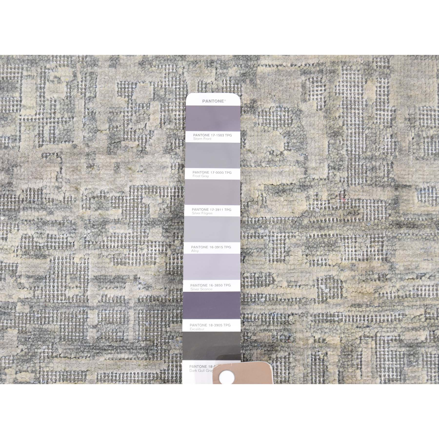 "8'x10'1"" THE MATRIX Pure Silk with Textured Wool Tone on Tone Hand-Knotted Rug"