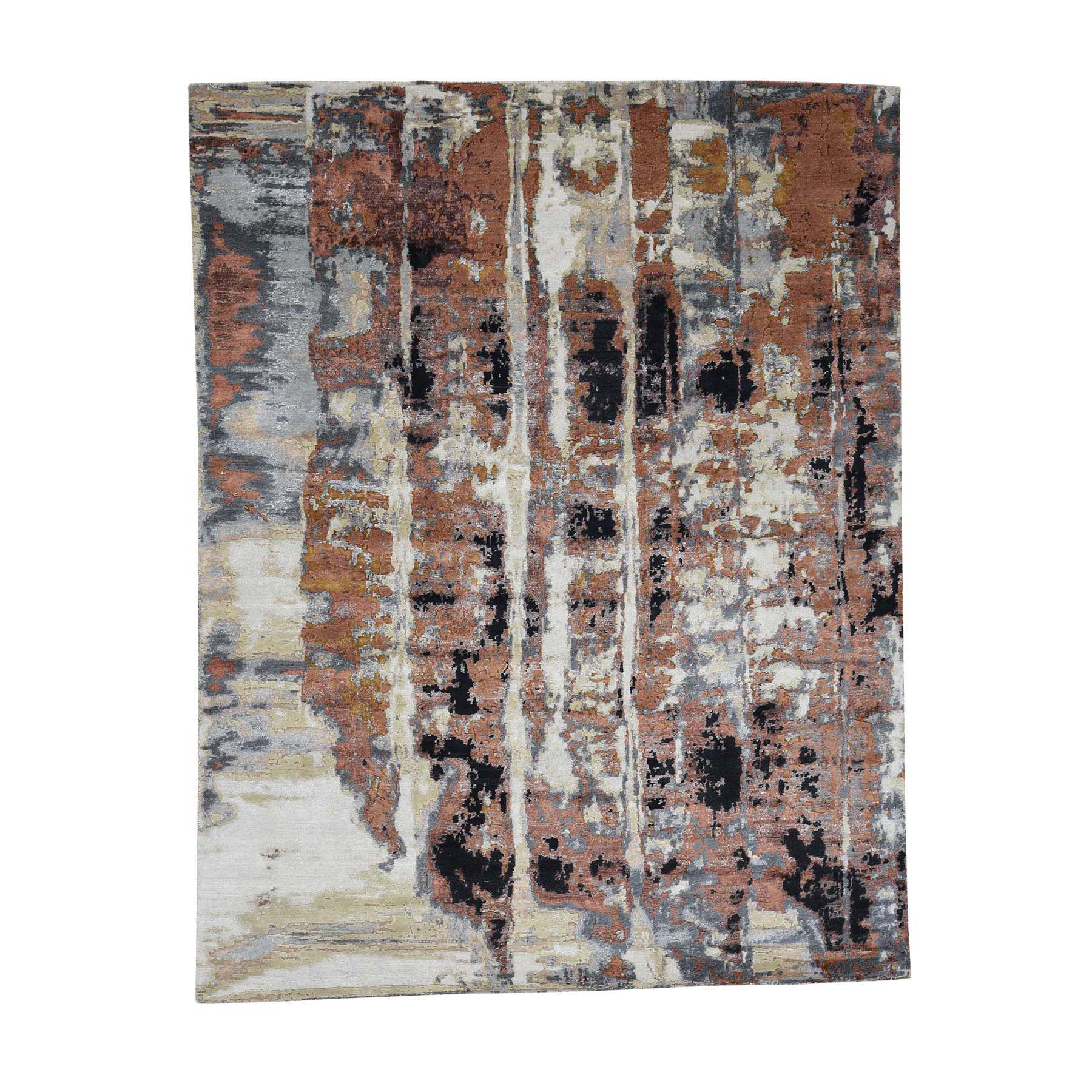 "8'x10'1"" Abstract Design Wool and Silk Hi-Lo Pile Hand-Knotted Oriental Rug"