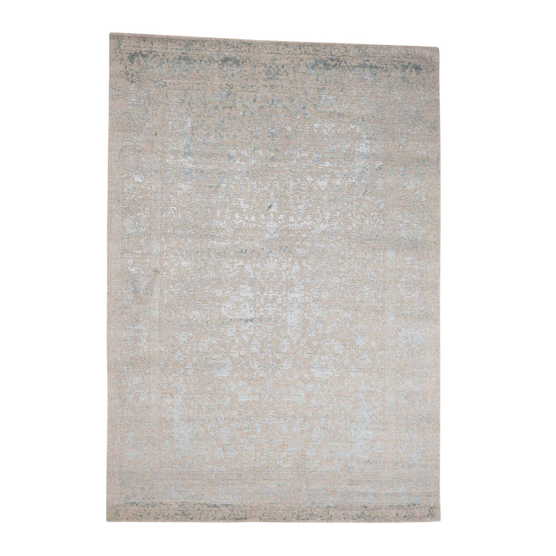 "6'2""x8'10 Hand-Loomed Tree Design Tone on Tone Wool and Silk Oriental Rug"