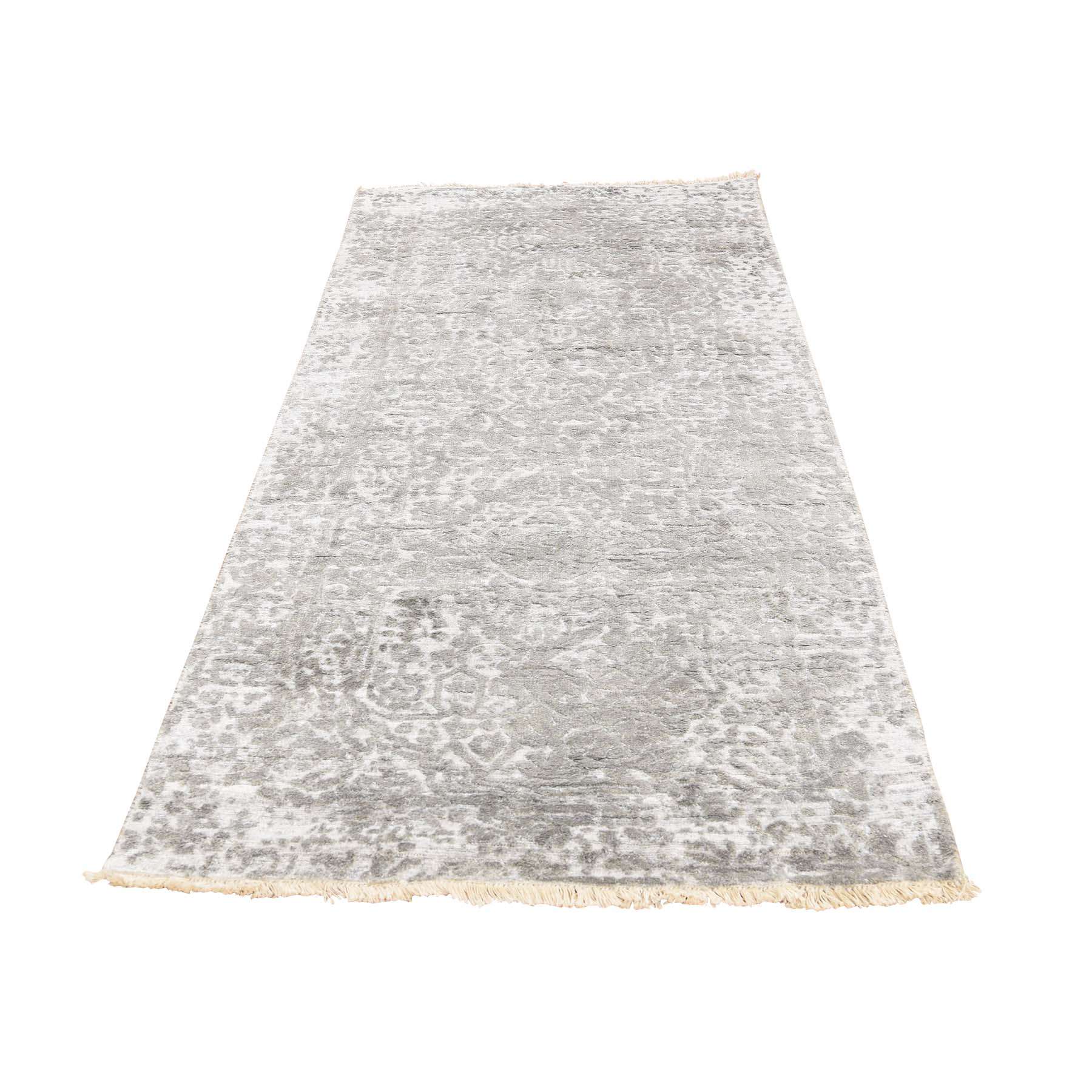 "2'7""X6'1"" Broken Persian Design Wool And Pure Silk Grey Hand-Knotted Runner Rug moac96c9"