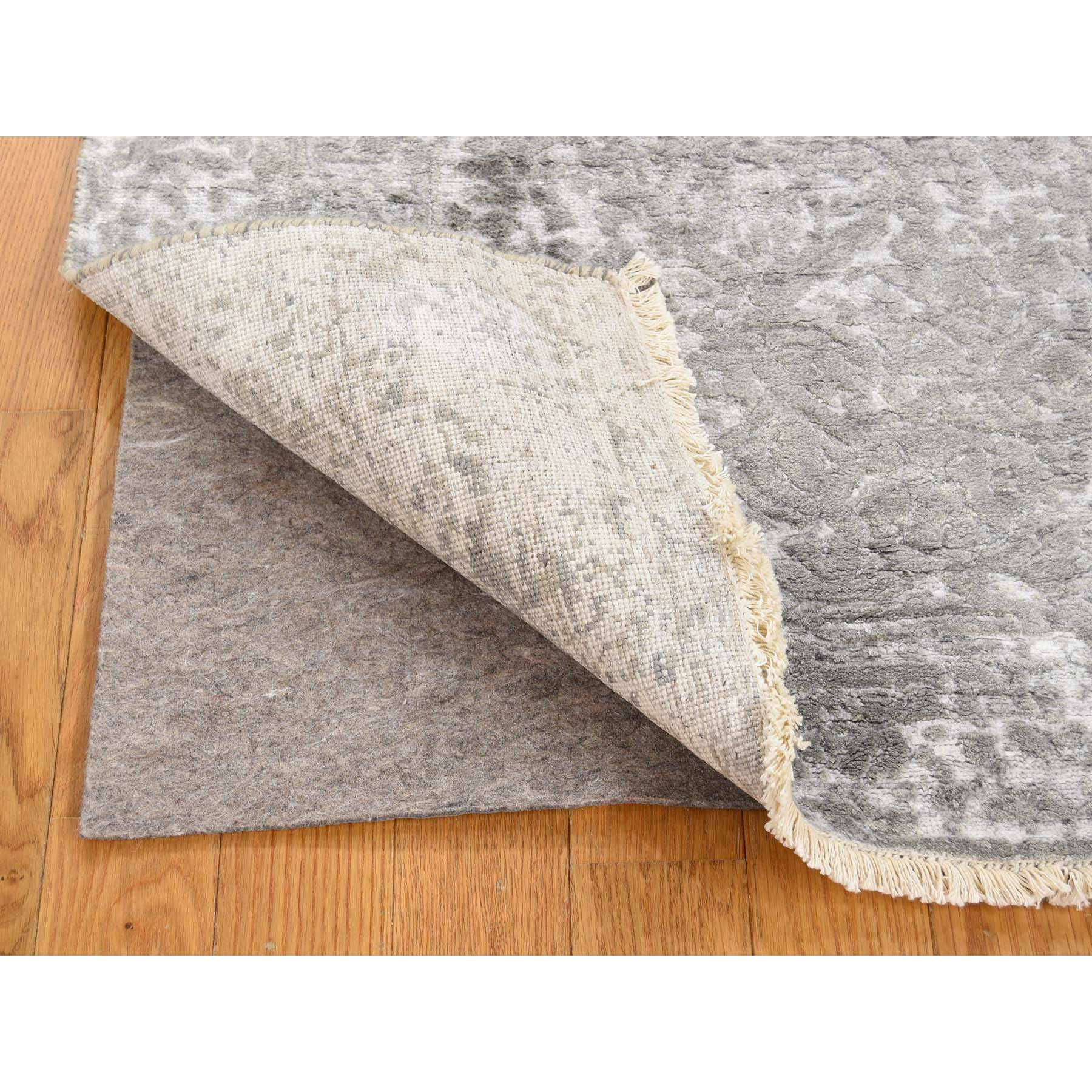 2-7 x6-1  Broken Persian Design Wool And Pure Silk Grey Hand-Knotted Runner Rug