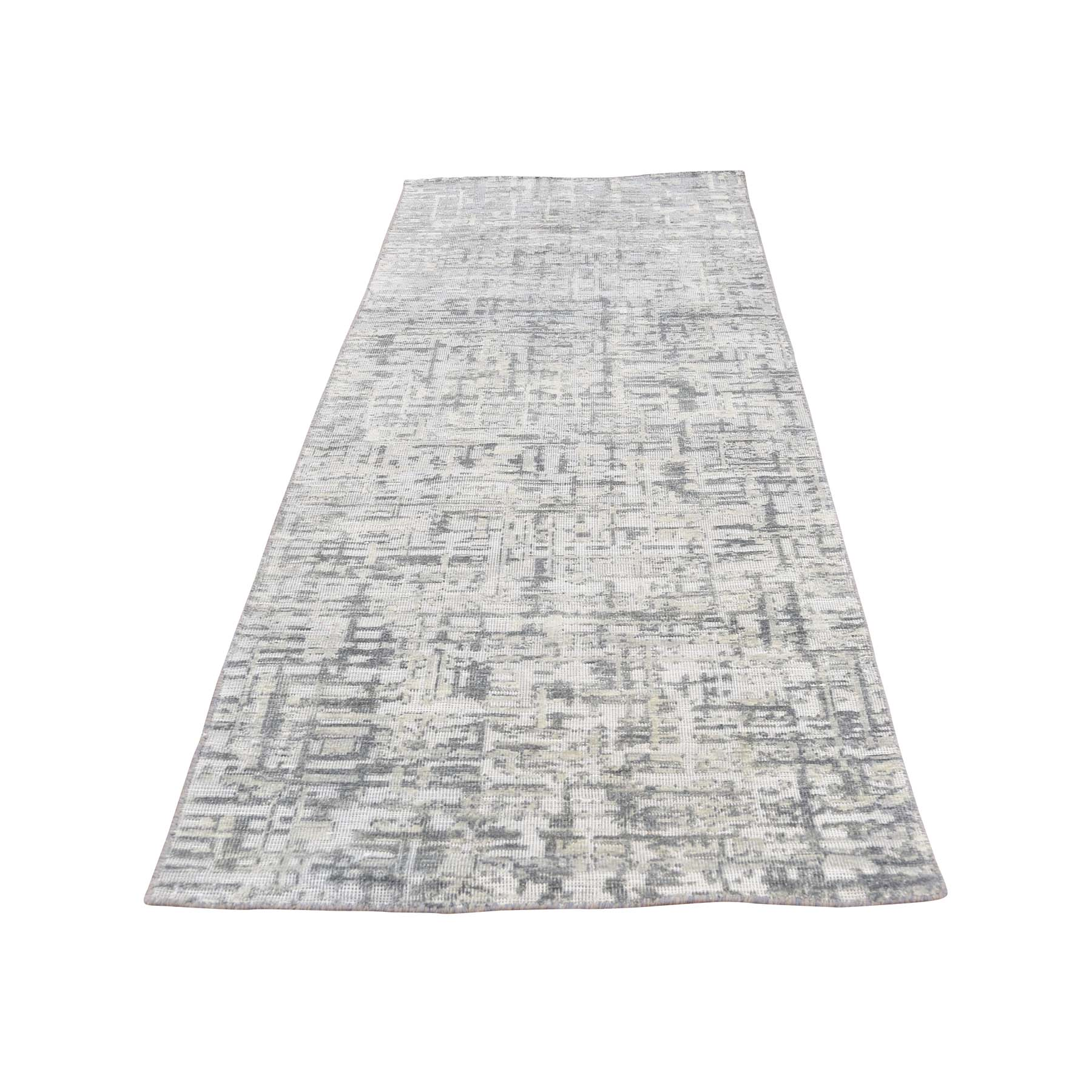 "2'6""X8'1"" The Matrix Pure Silk With Oxidized Wool Tone On Tone Hand-Knotted Rug moac96ed"