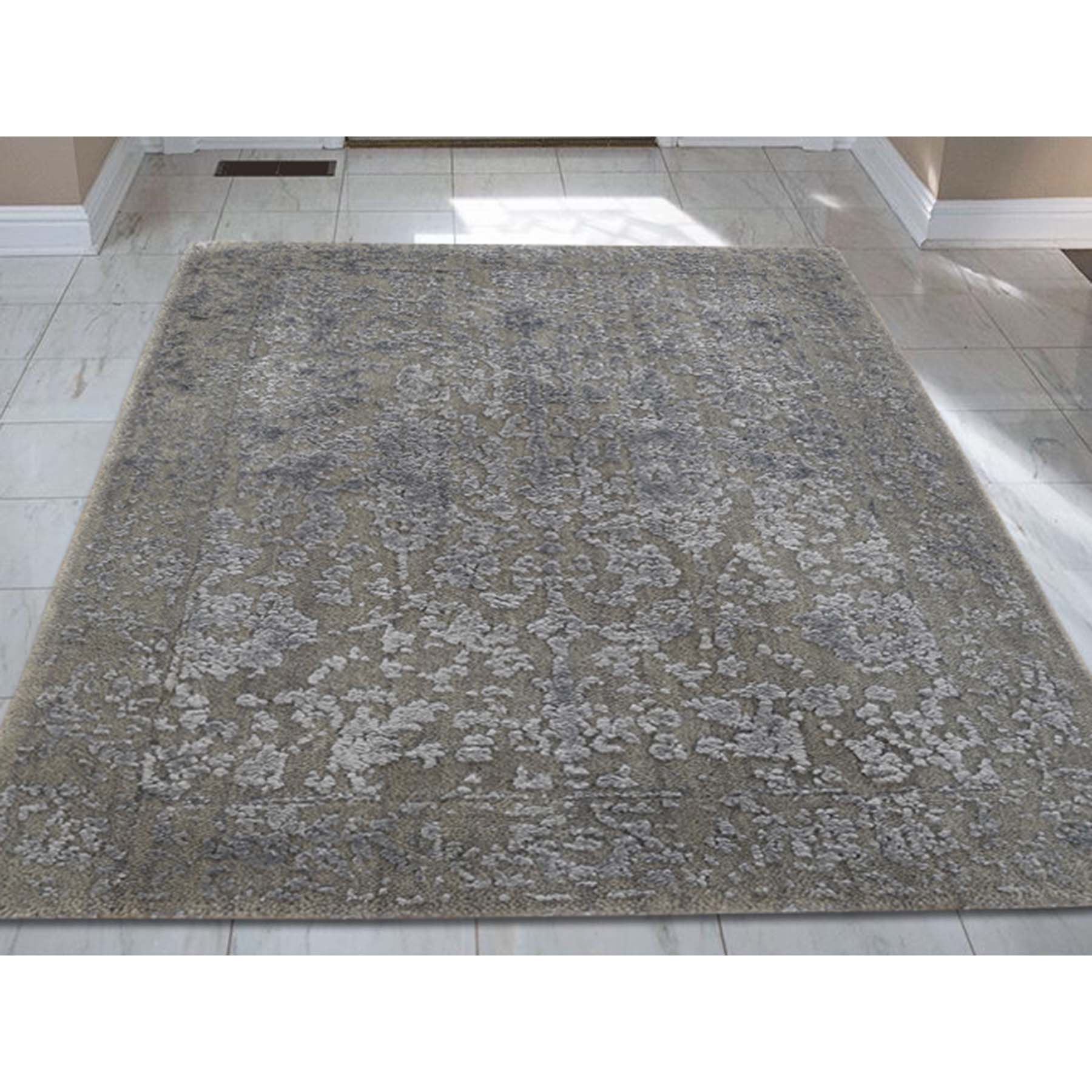 2-x3- Hand-Loomed Wool and Silk Abstract Design Tone on Tone Oriental Rug