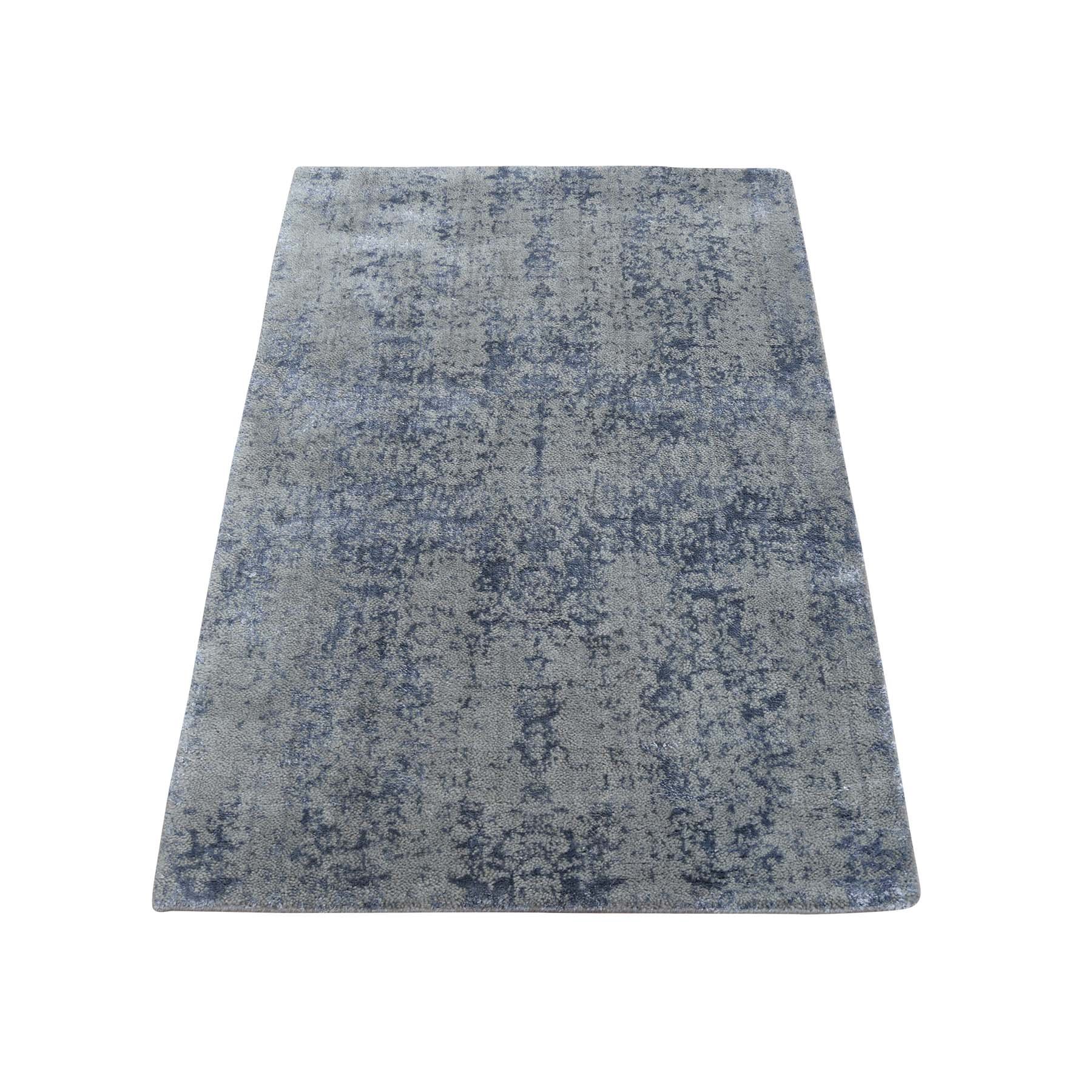 2'X3' Wool And Silk Hand-Loomed Abstract Design Tone On Tone Oriental Rug moac97d0