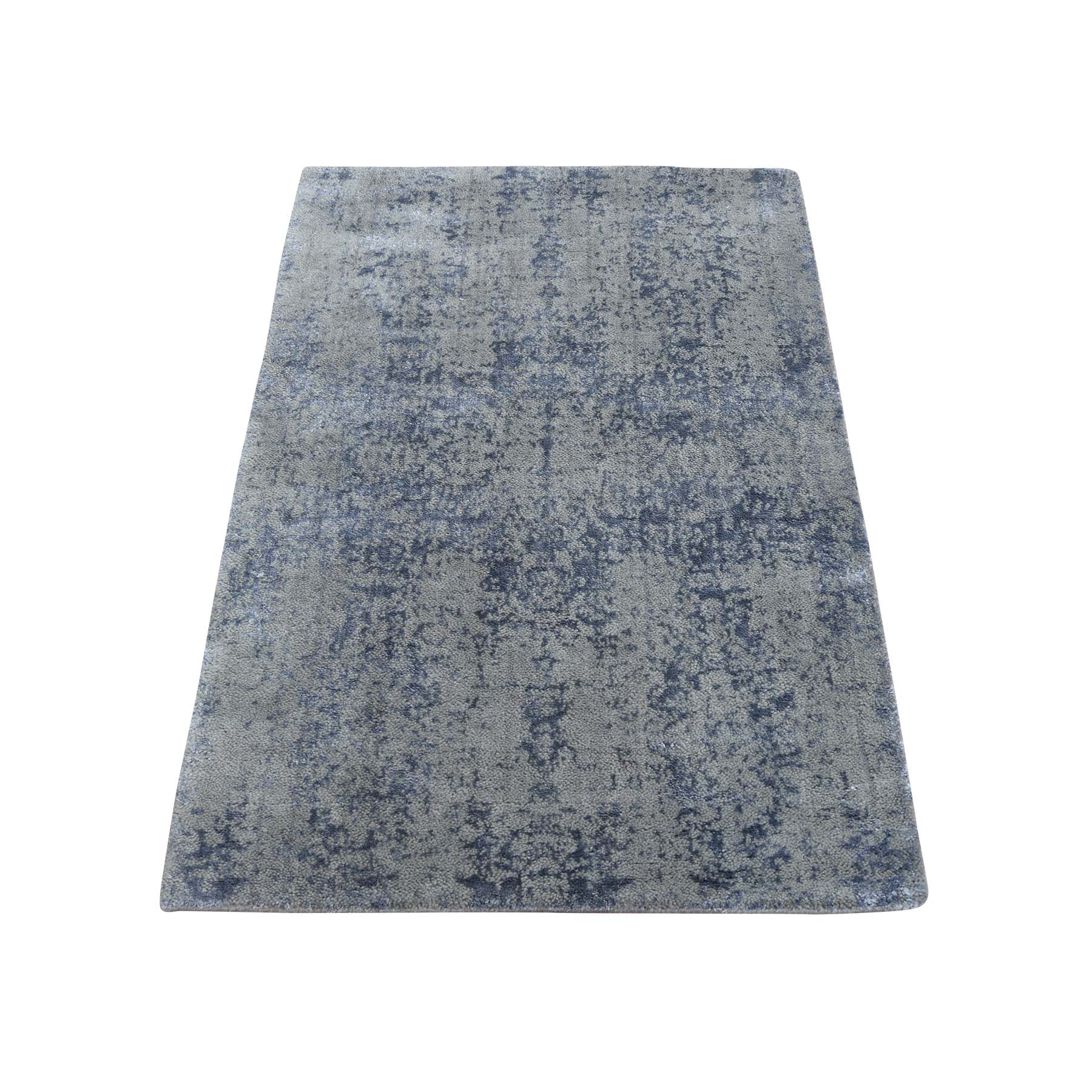 2'X3' Abstract Design Tone On Tone Wool And Silk Hand-Loomed Oriental Rug moac97da