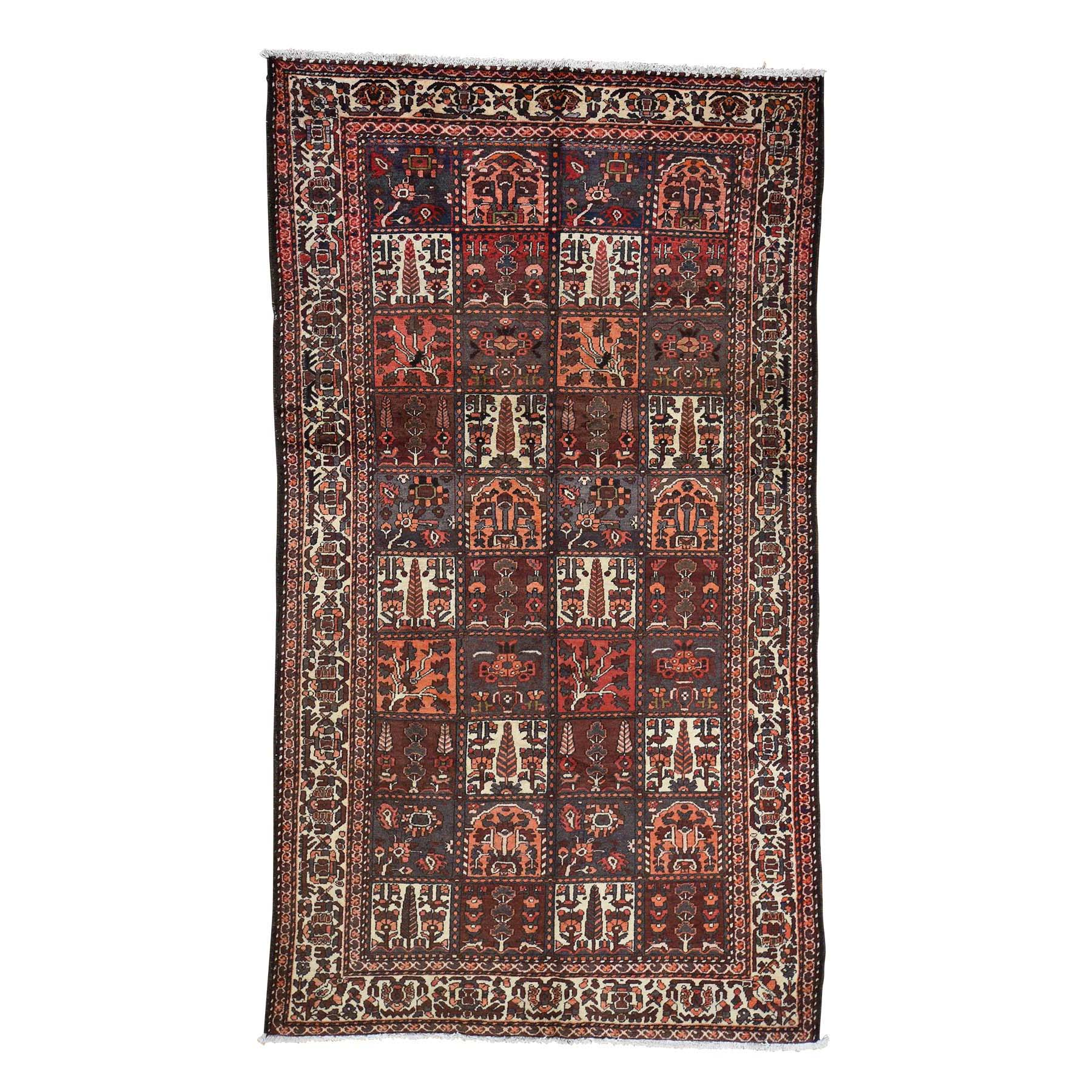 "5'6""X9'7"" Garden Design Bakhtiari Semi Antique Persian Hand-Knotted Wide Runner Oriental Rug moac976c"