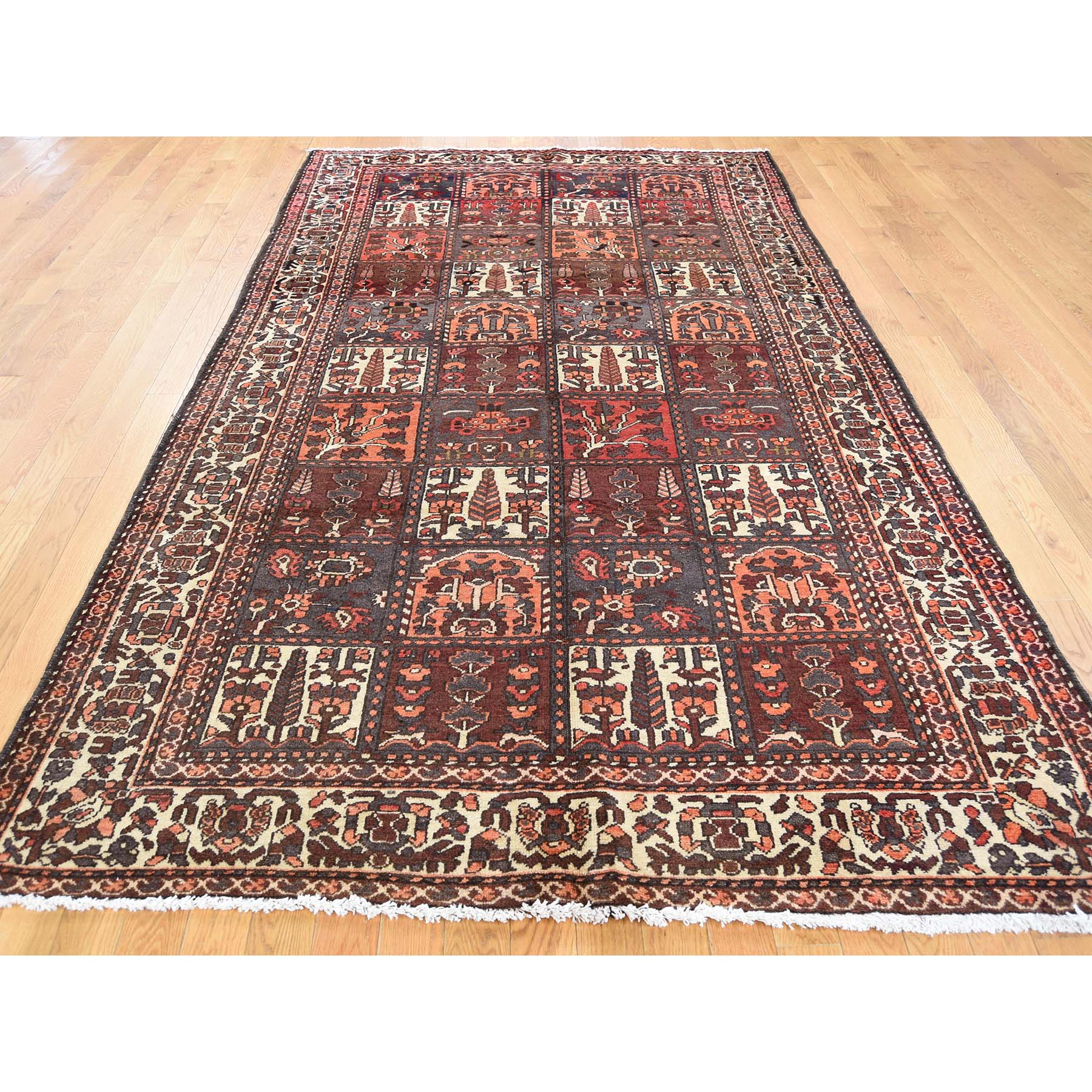 5-6 x9-7  Garden Design Bakhtiari Semi Antique Persian Hand-Knotted Wide Runner Oriental Rug